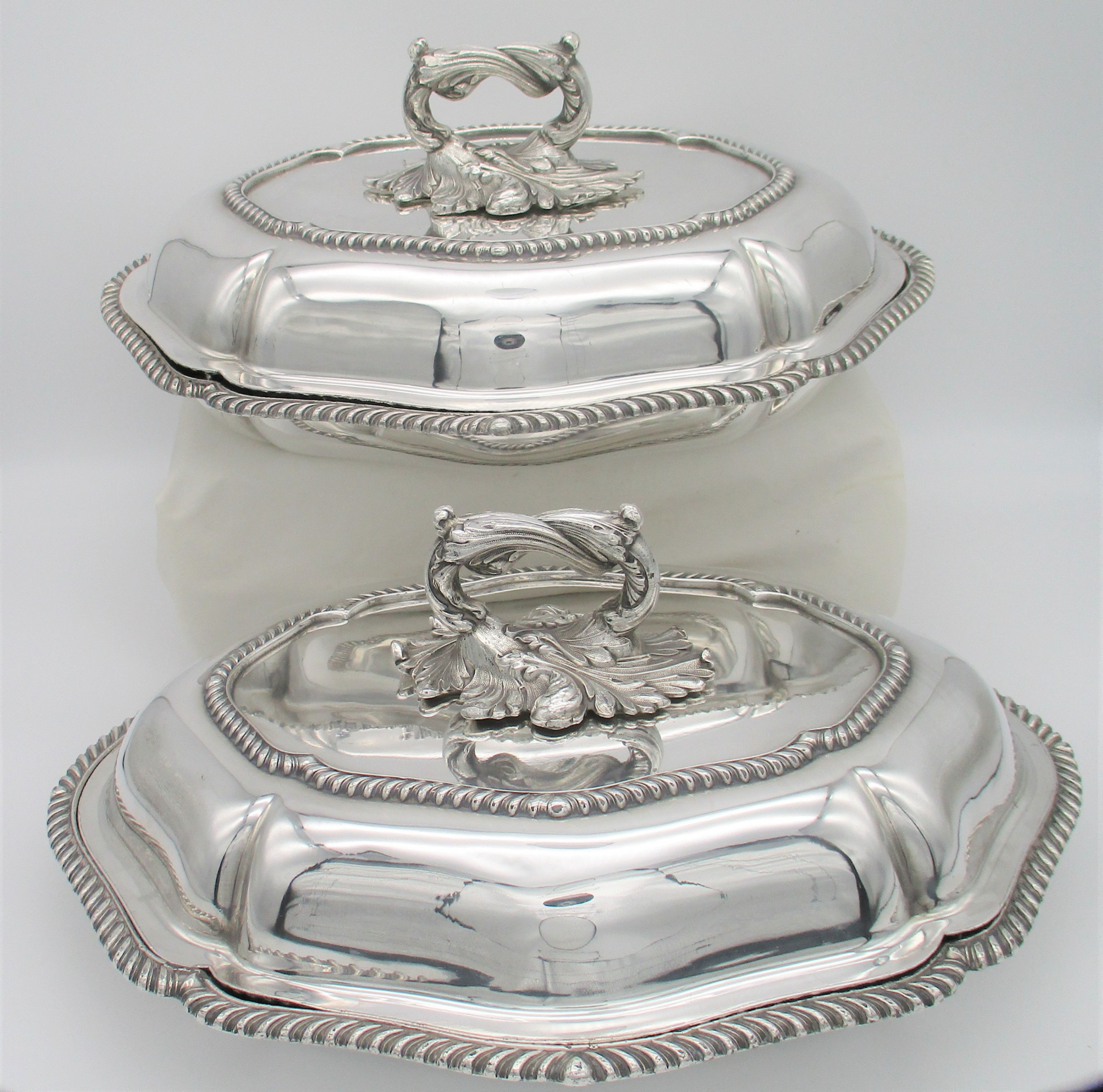 fine pair of mid 19th century silver plated serving tureens entree dishes