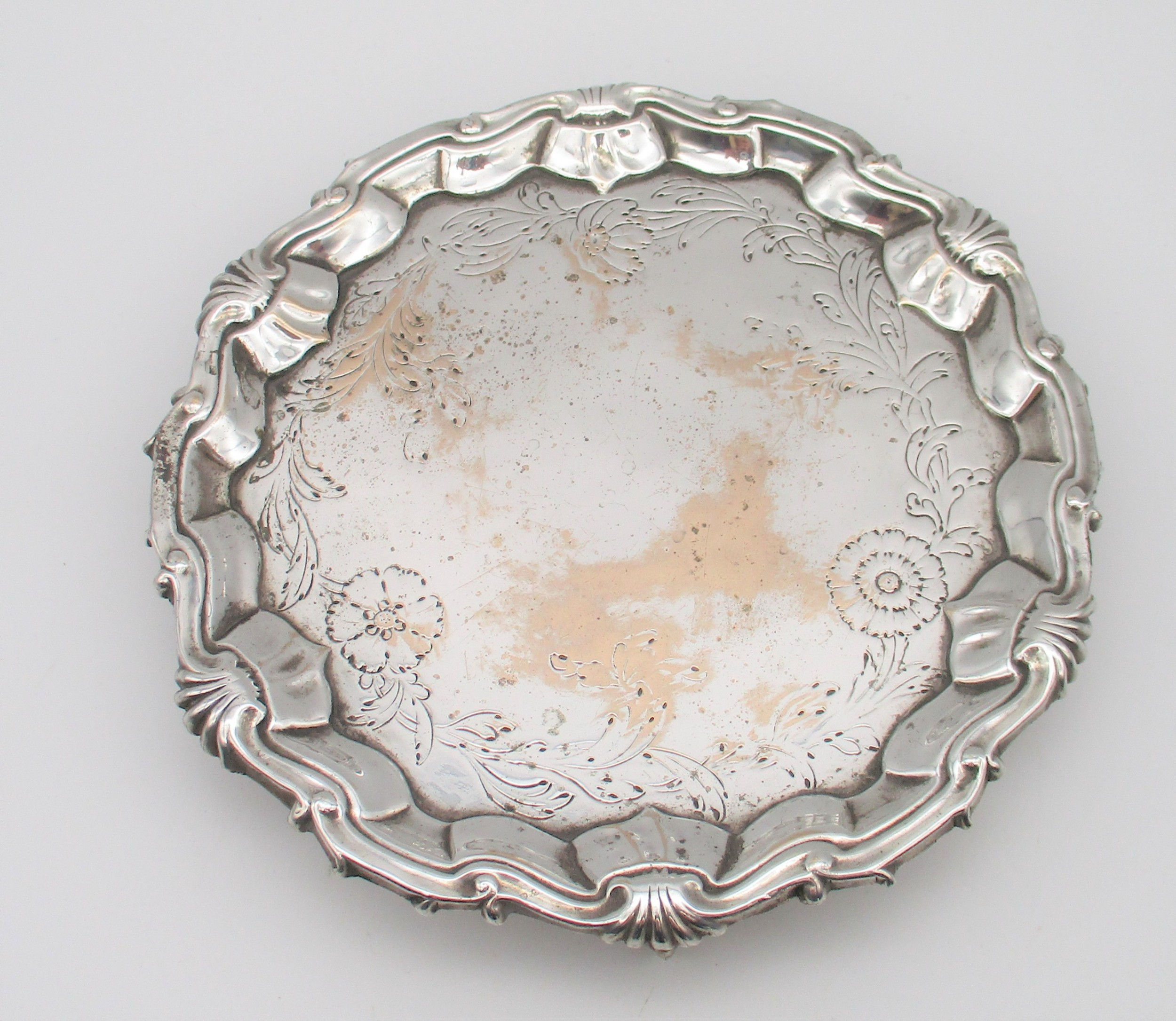 very rare early old sheffield plated card tray c1760