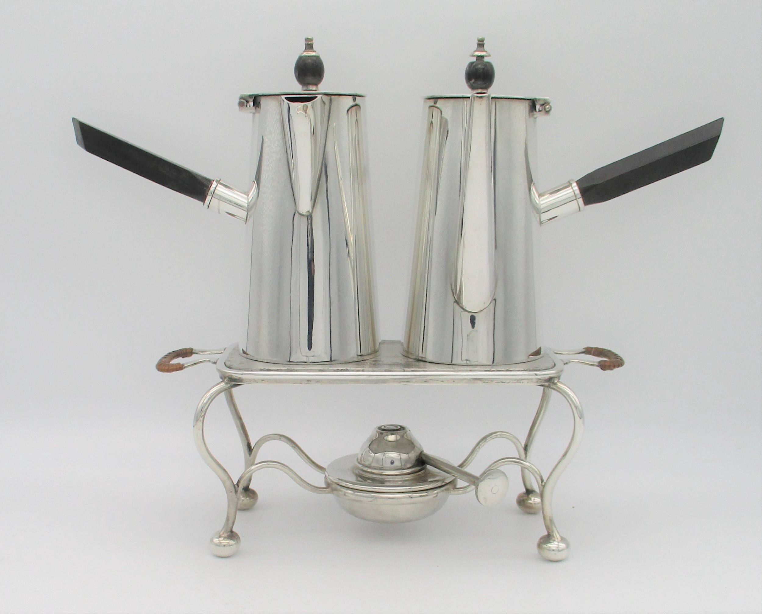 aspreys silver plated coffee chocolate pots on burner