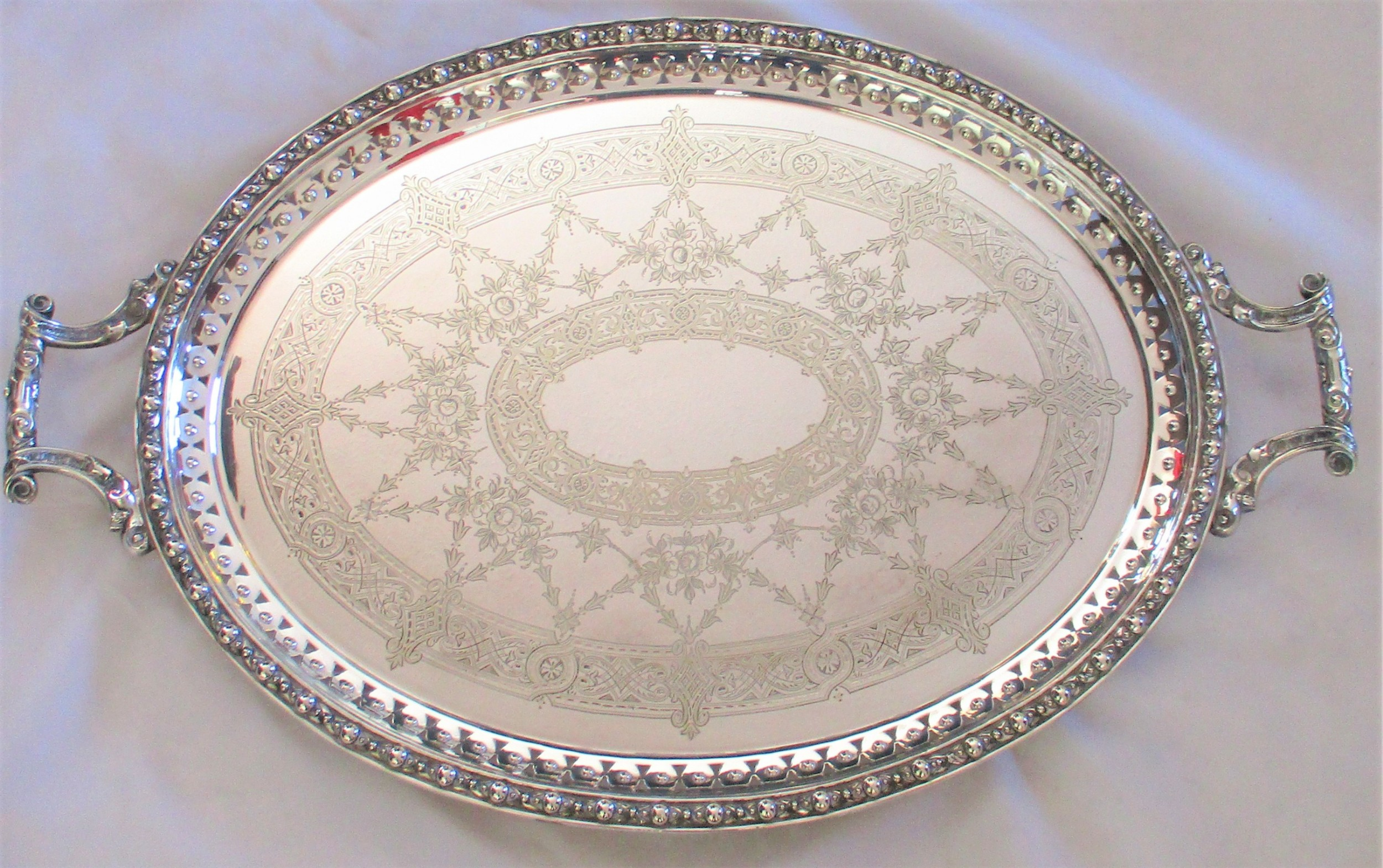 a large 19th century silver plated serving tray by mappin webb