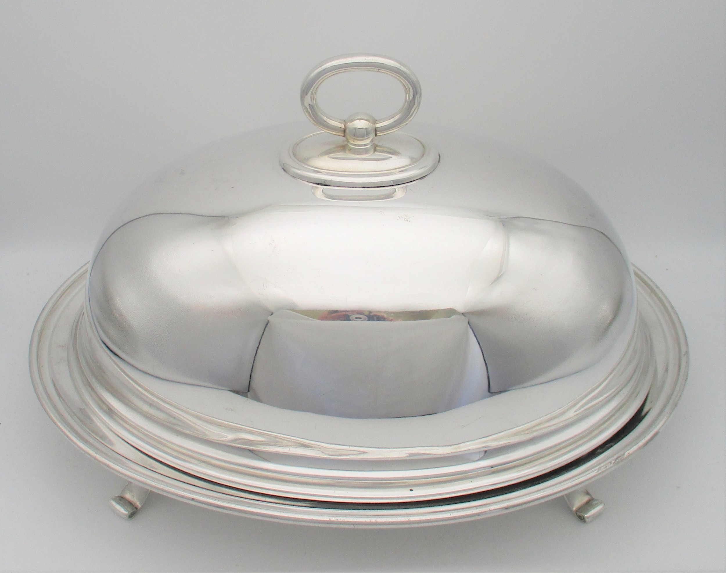 a silver plated silver plated dish cover meat dome on stand c1900