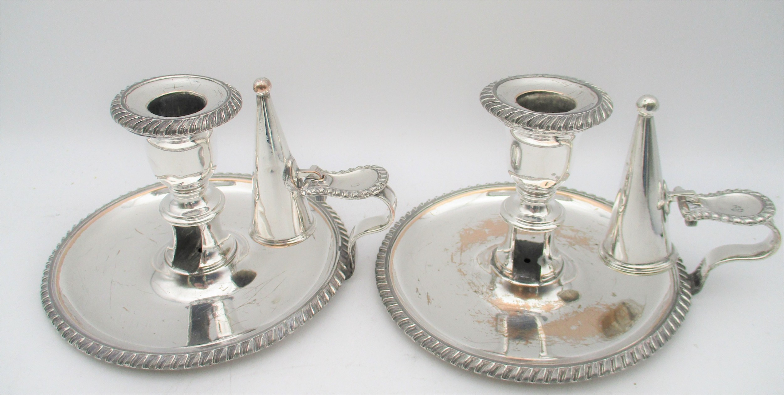 a pair of old sheffield plated chamber candlesticks c1830 by waterhouse