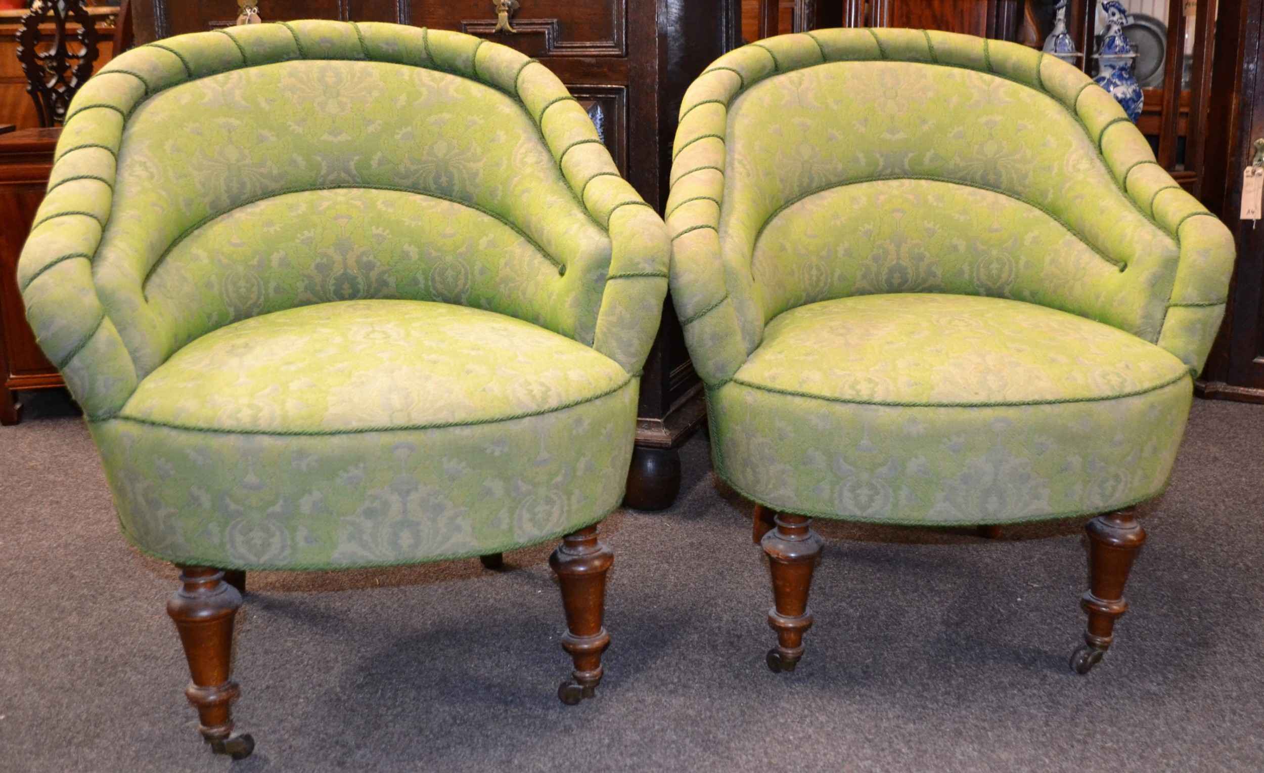 small pair of victorian upholstered armchairs