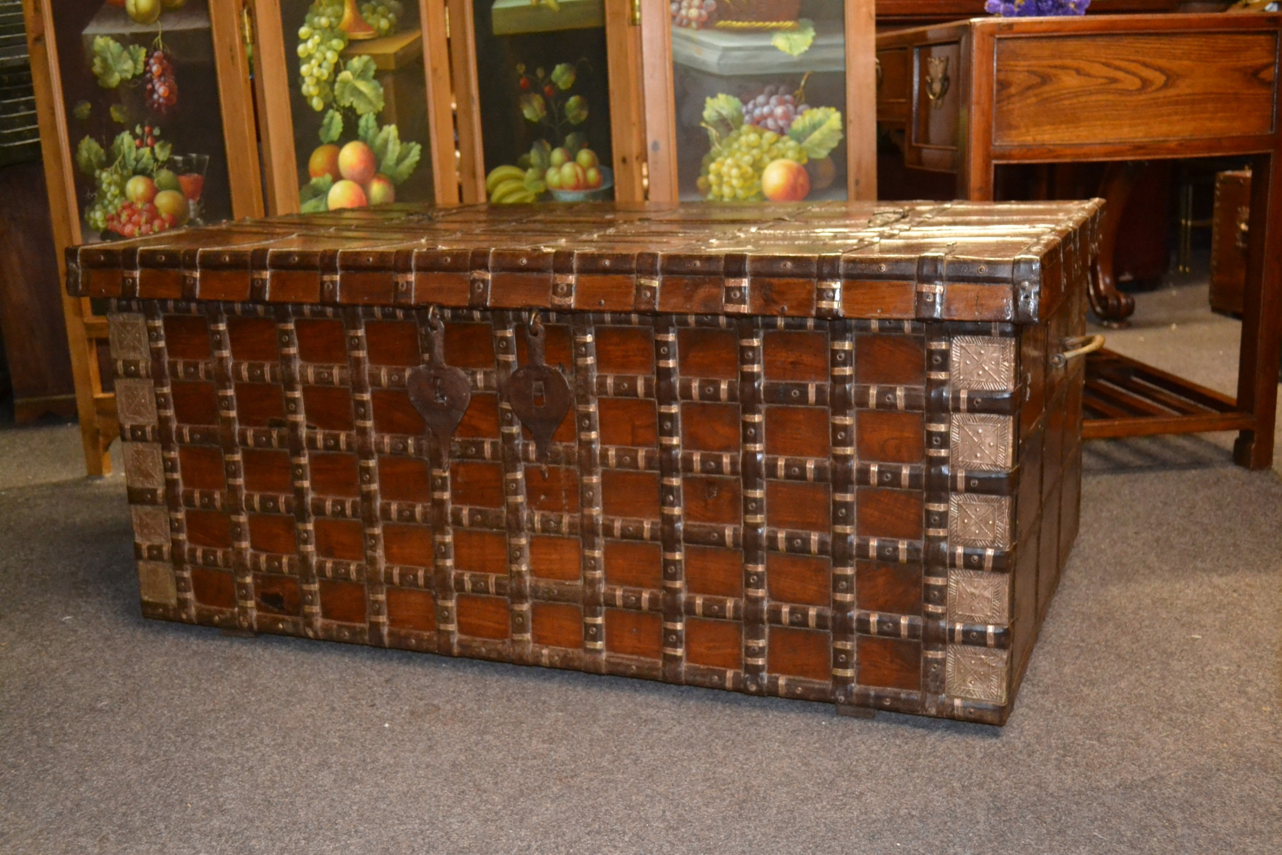 brass bound teak trunk from goa