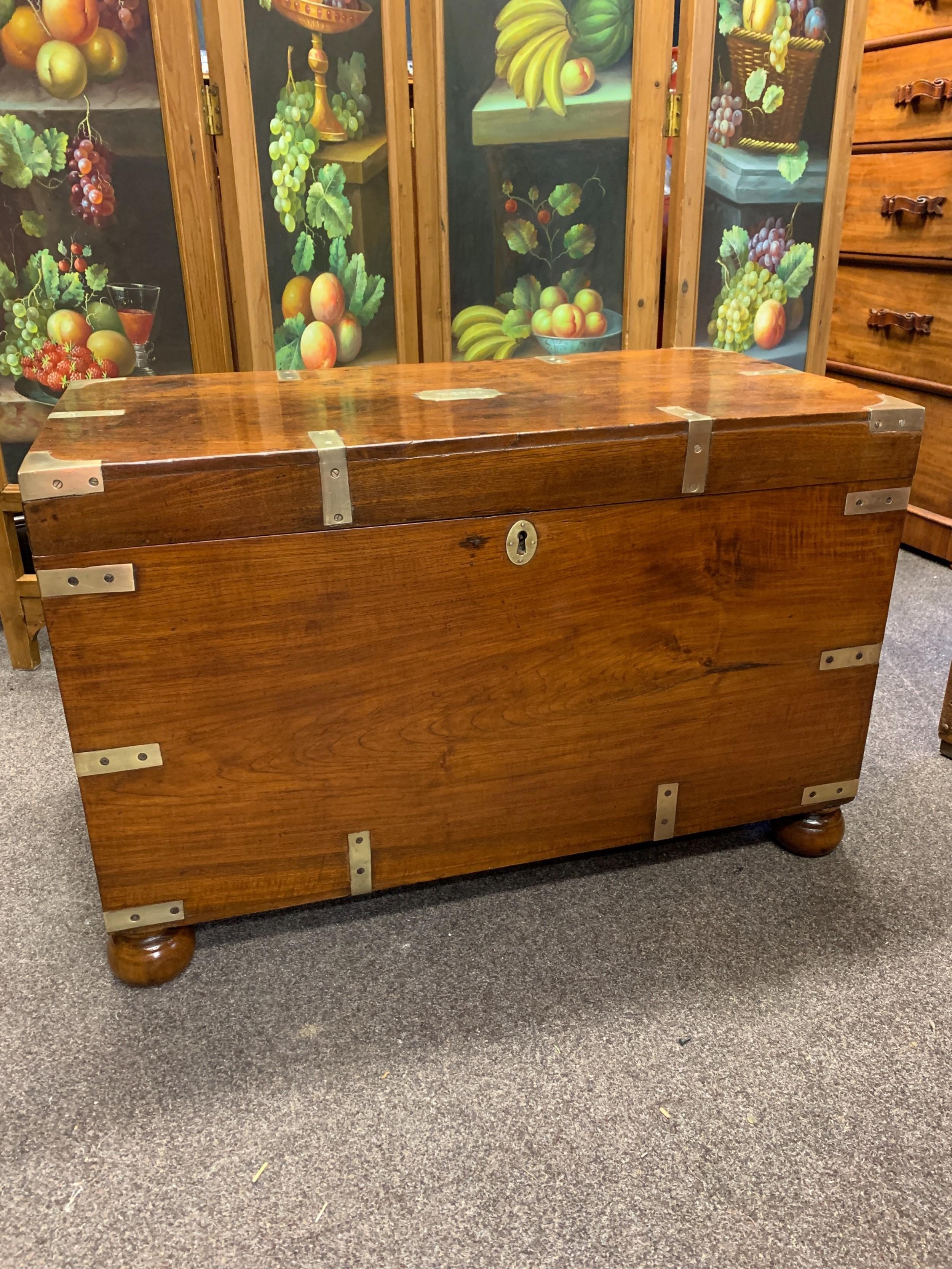 victorian teak campaign trunk