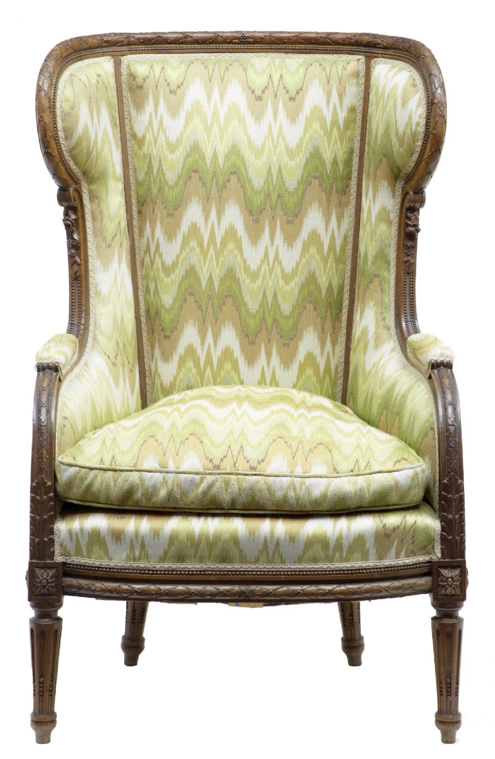 19th century french carved walnut wing back armchair