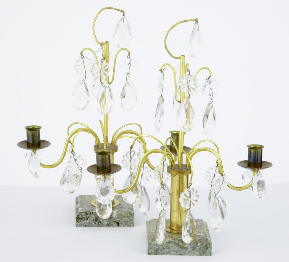 20th century pair of 1930's ornate cut glass candlesticks