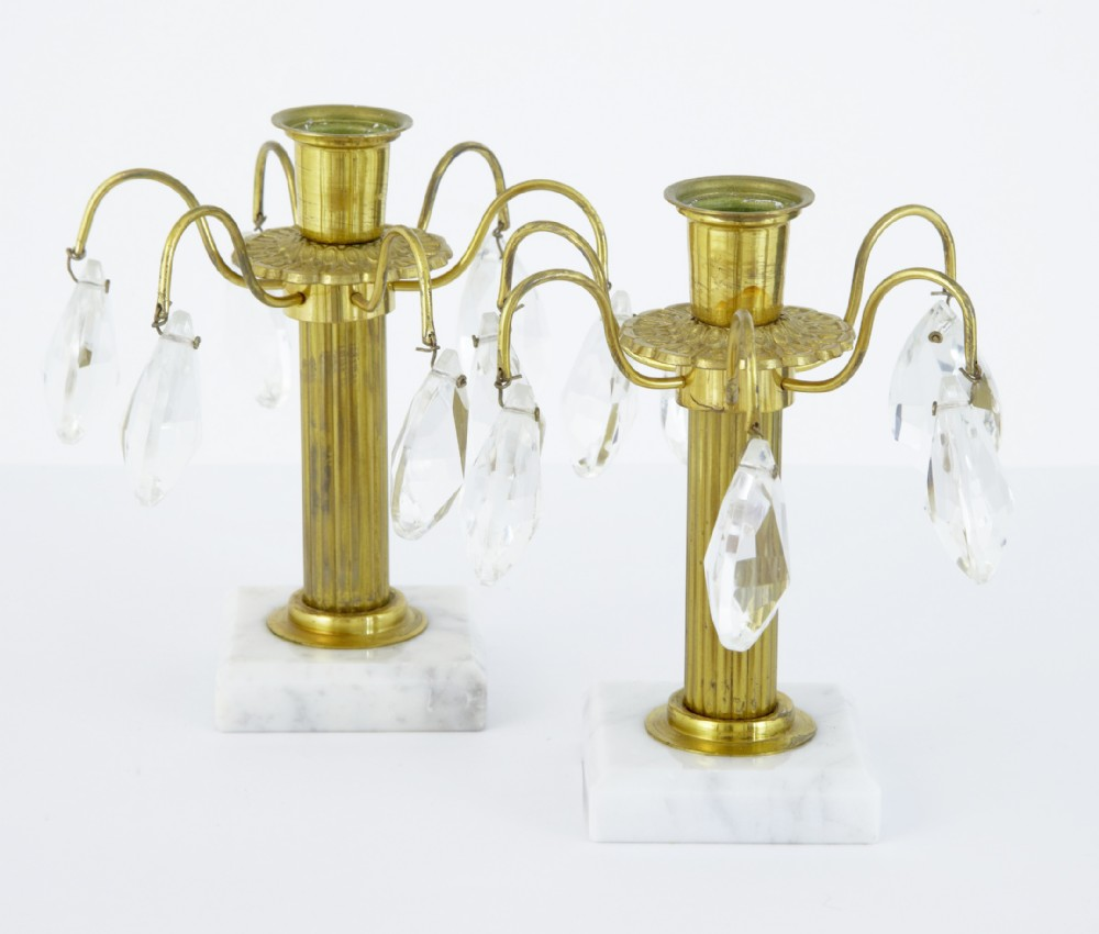 small pair of 1930's ornate cut glass candlesticks