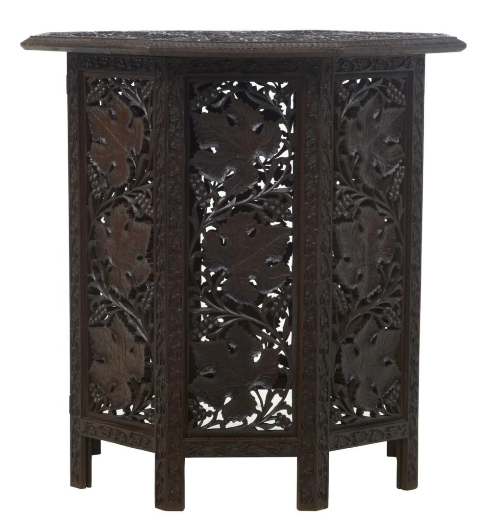 19th century eastern hardwood carved octagonal side table