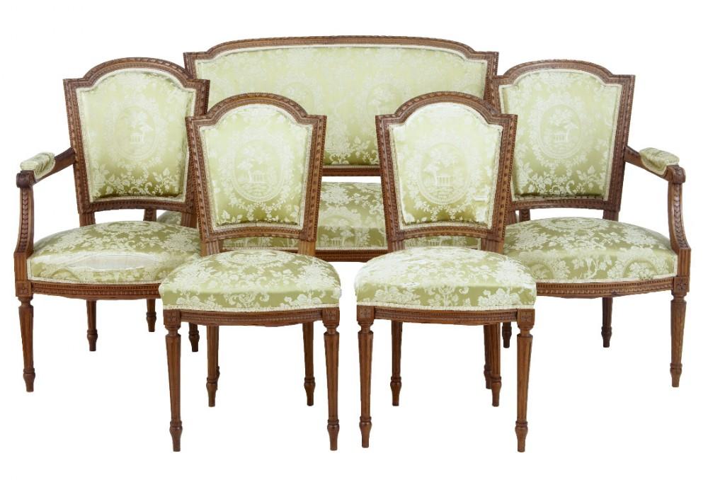 19th century french walnut 5 piece salon suite