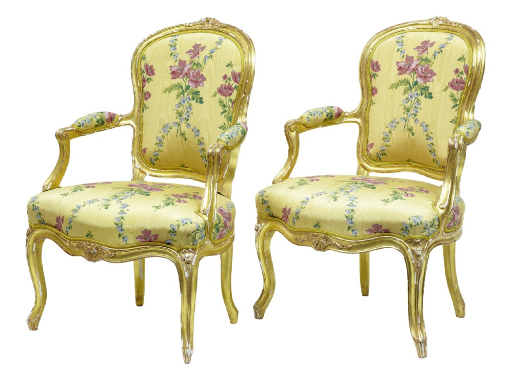 near pair of 18th century louis xv french gilt fauteuil armchairs by claude etienne michard