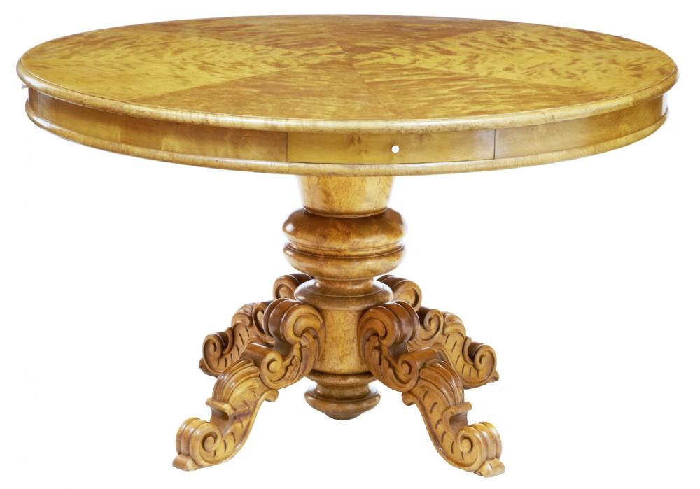 19th century birch swedish drum centre table
