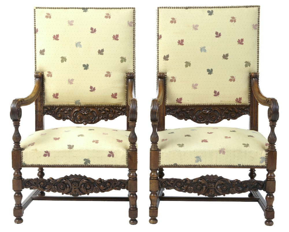 pair of 19th century french carved walnut large armchairs