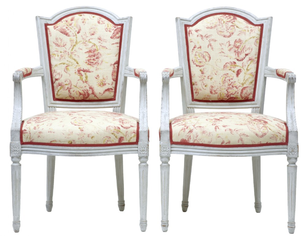 pair of painted 19th century swedish shield back armchairs
