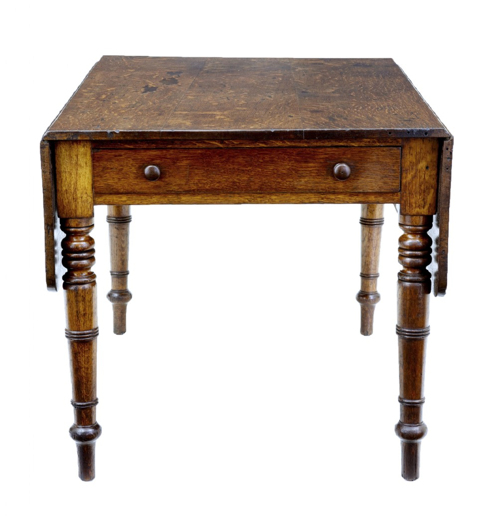victorian antique oak drop leaf table with drawer