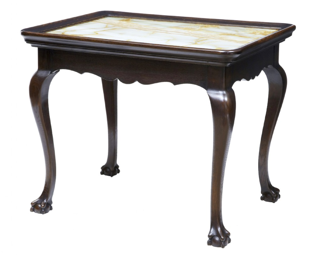 19th century oak chippendale influenced onyx top silver table