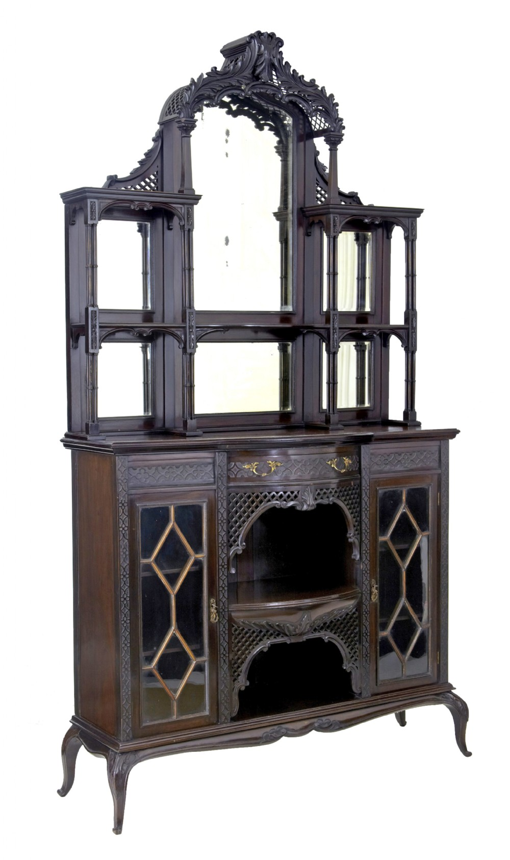 edwardian chinese chippendale carved mahogany cabinet