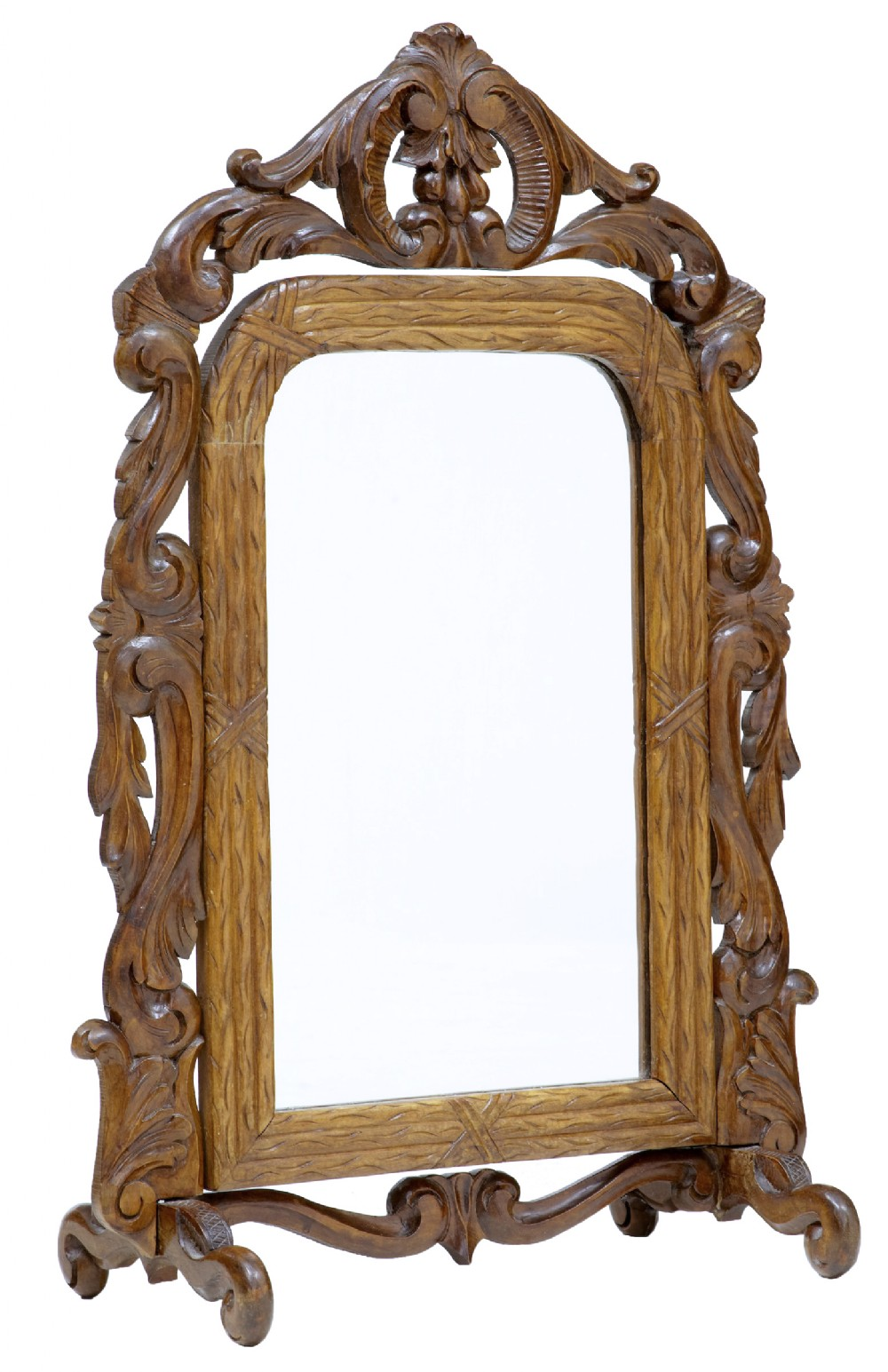 late 19th century carved oak rococo revival vanity mirror