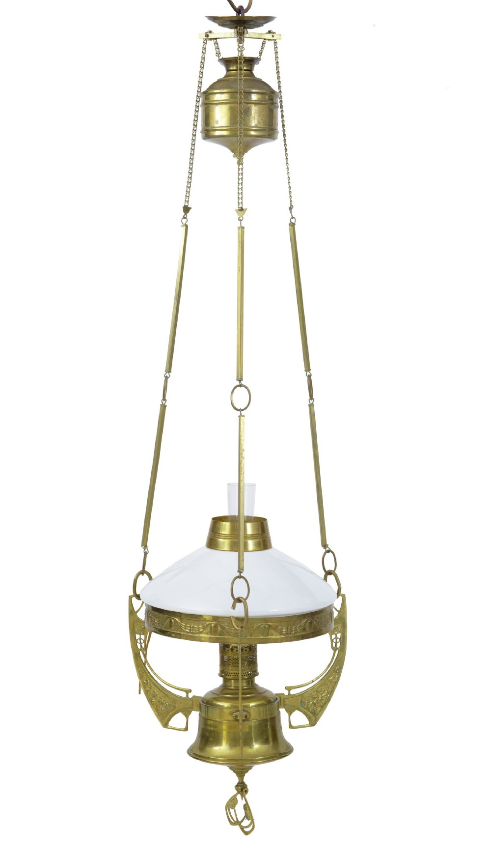 late 19th century arts and crafts brass adjustable hanging lamp