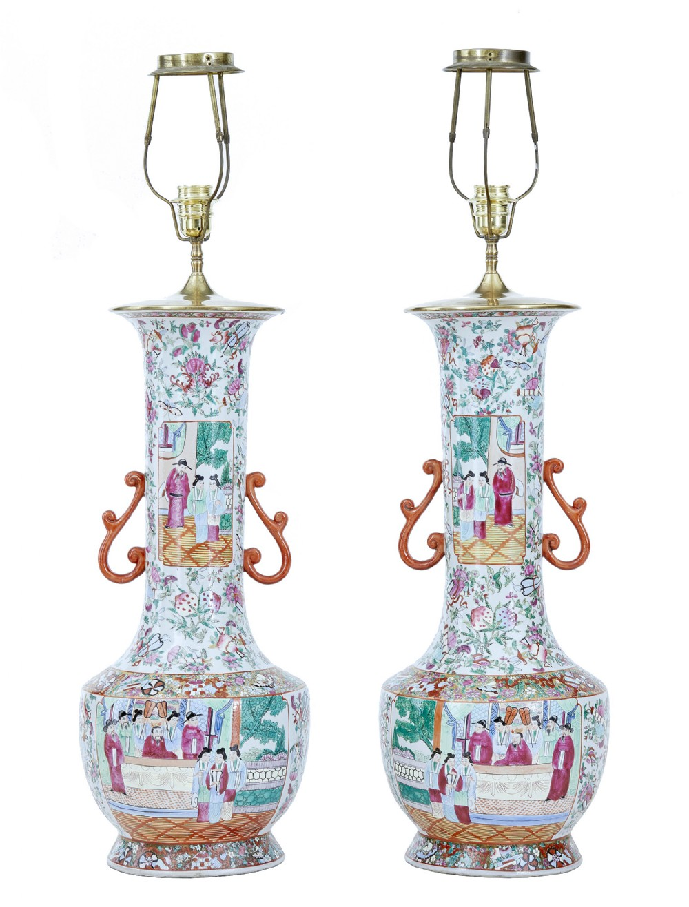 pair of early 20th large chinese cantonese vase lamps