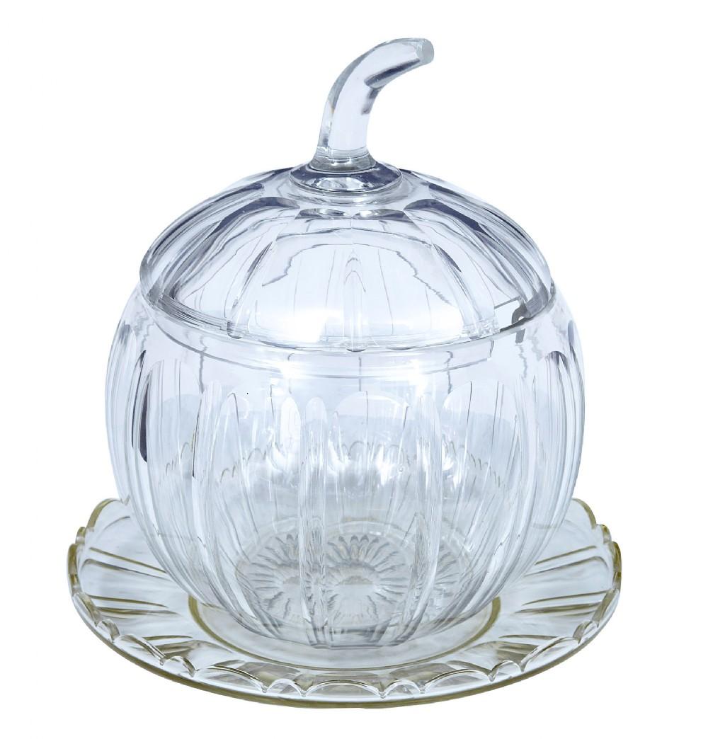 early 20th century cut glass pumpkin halloween punch bowl