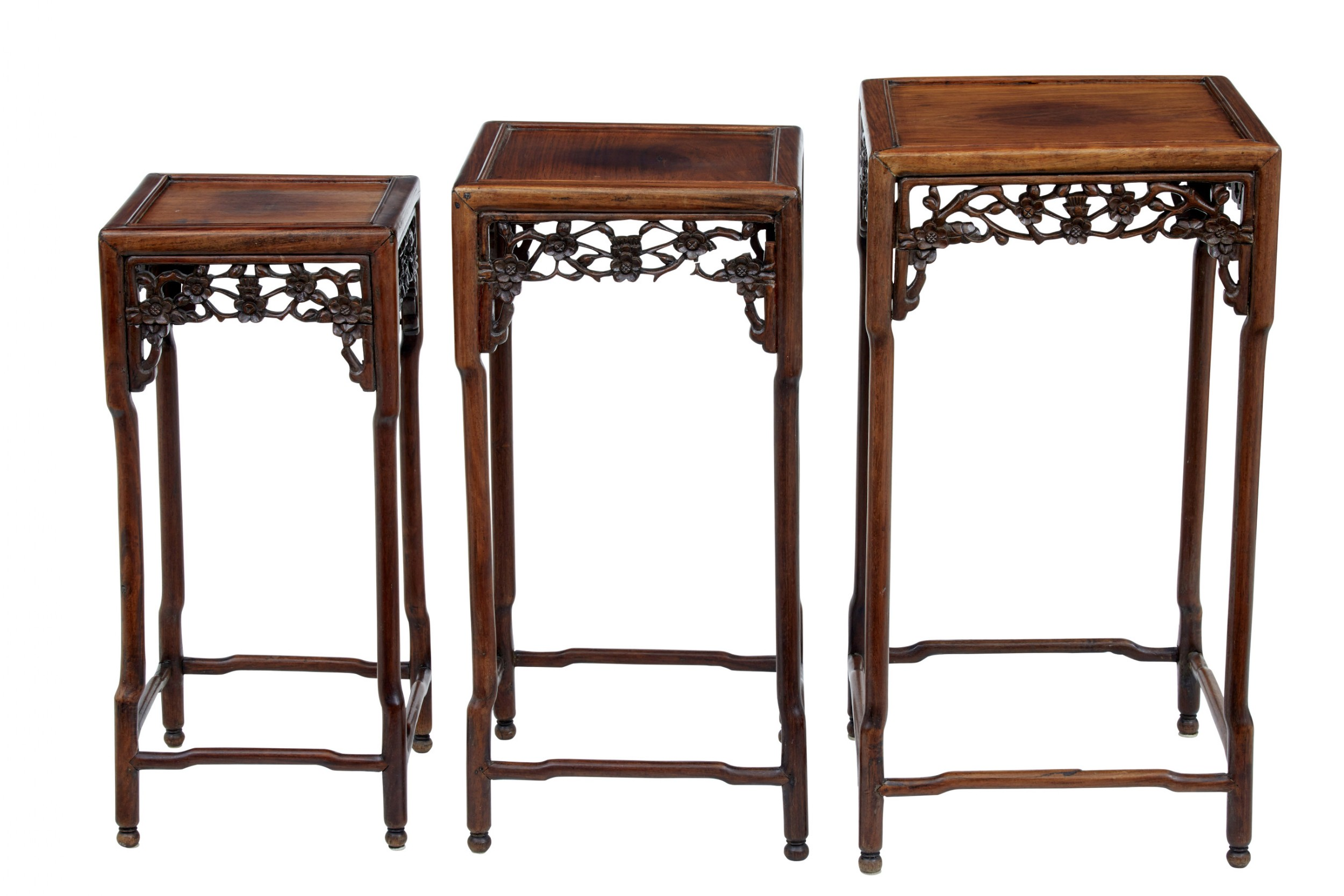 set of 3 19th century carved chinese hardwood nest of tables