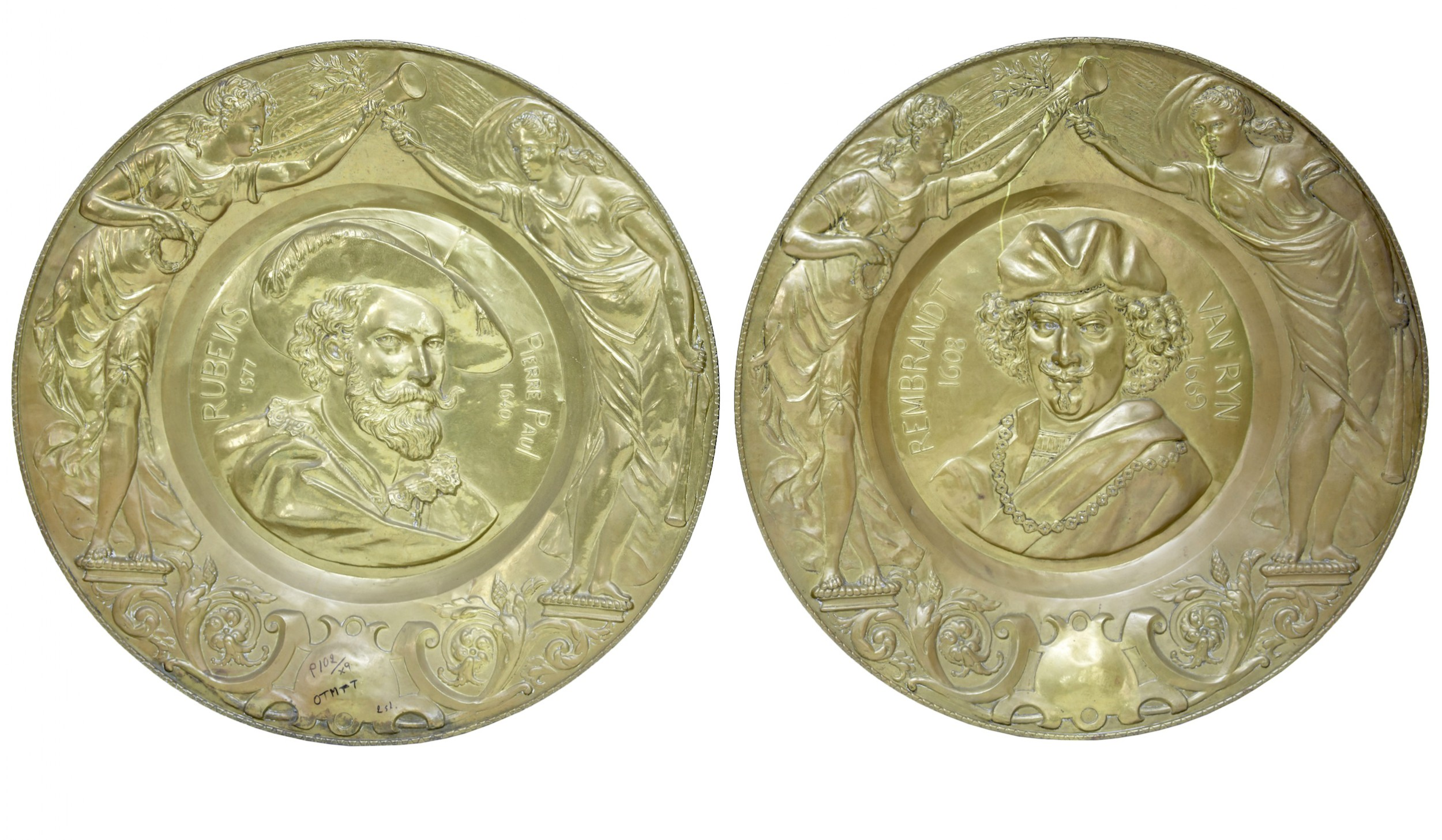 pair of 19th century french antique brass decorative plates