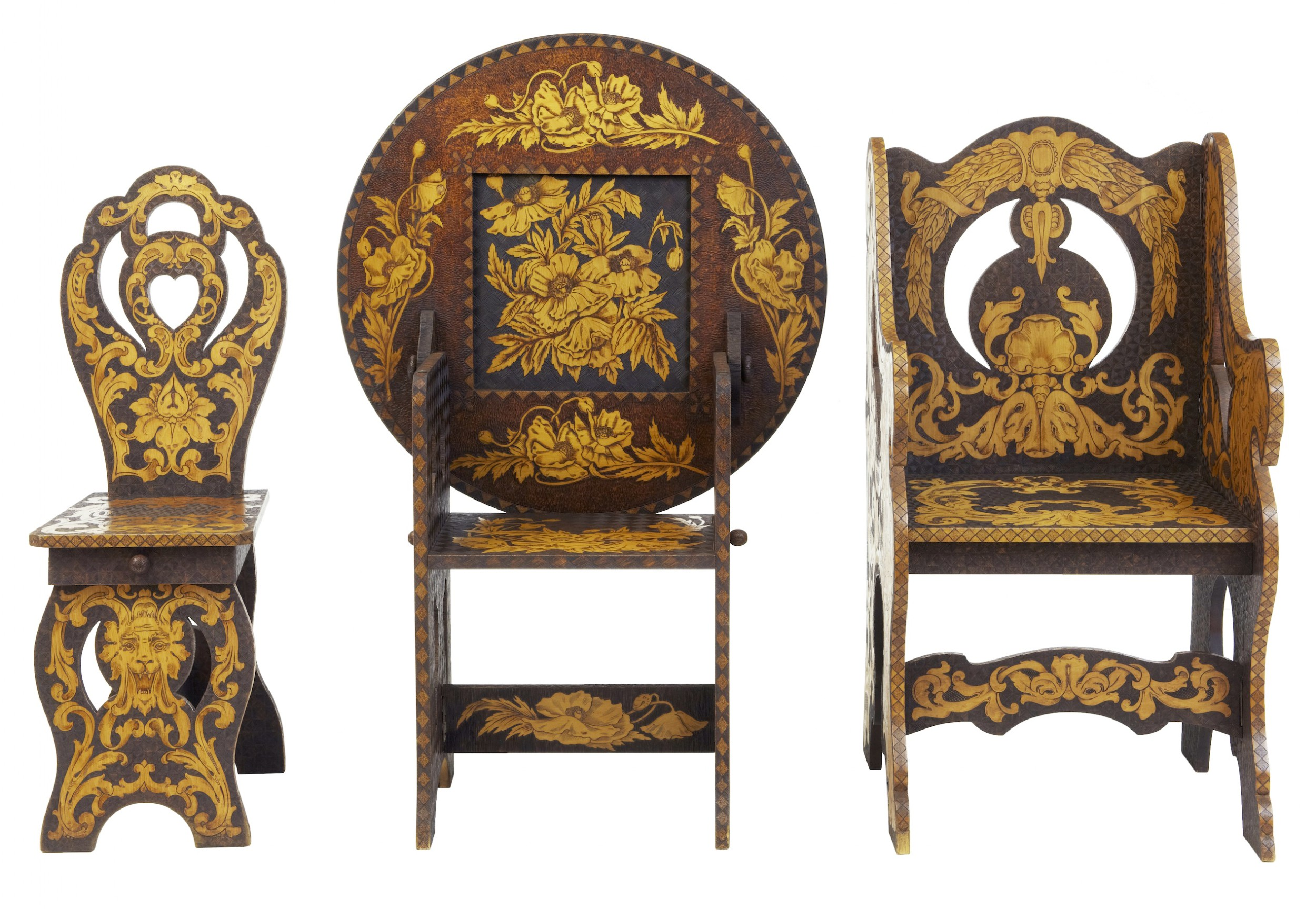 early 20th century american arts and crafts poker work collection