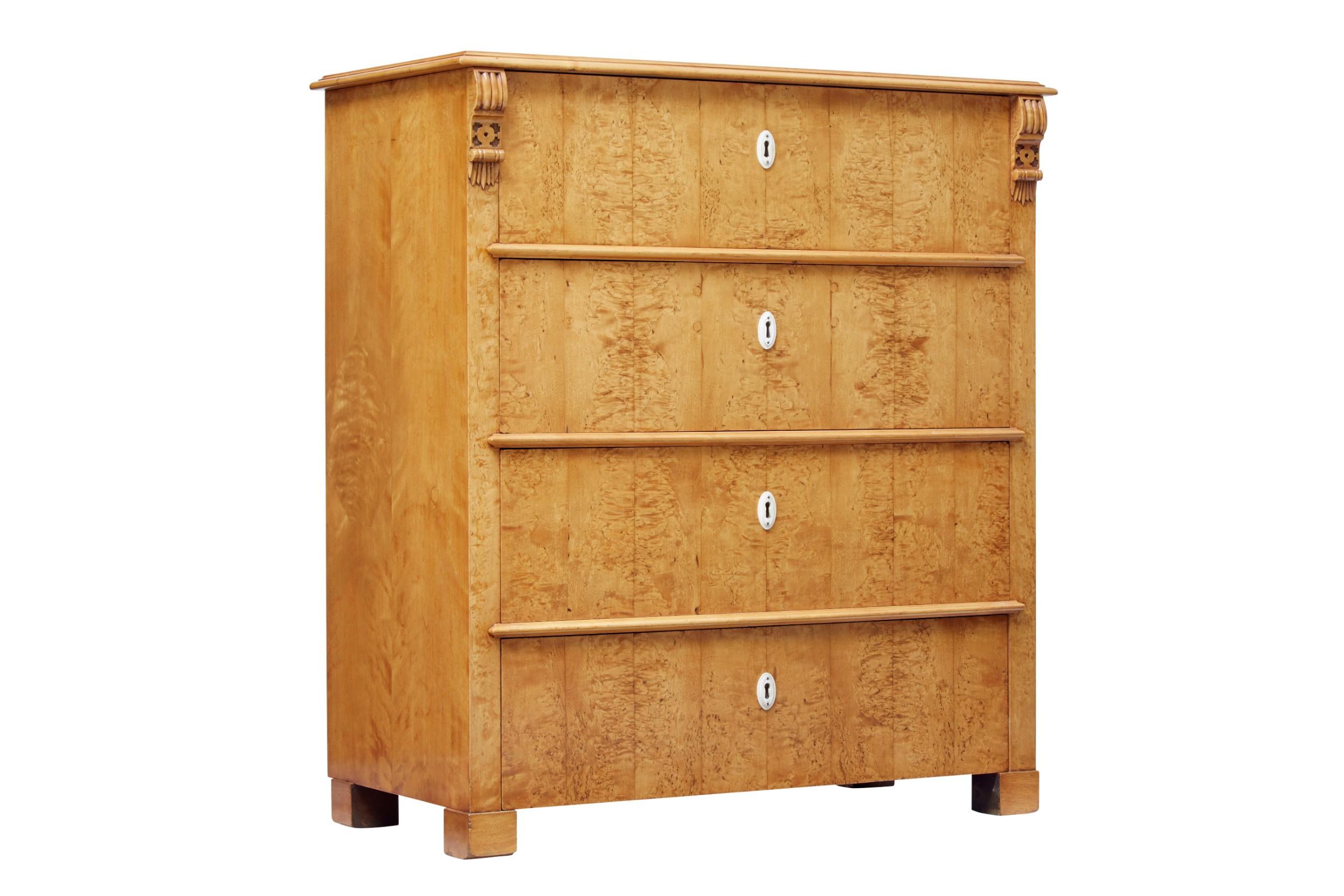 19th century scandinavian birch root chest of drawers