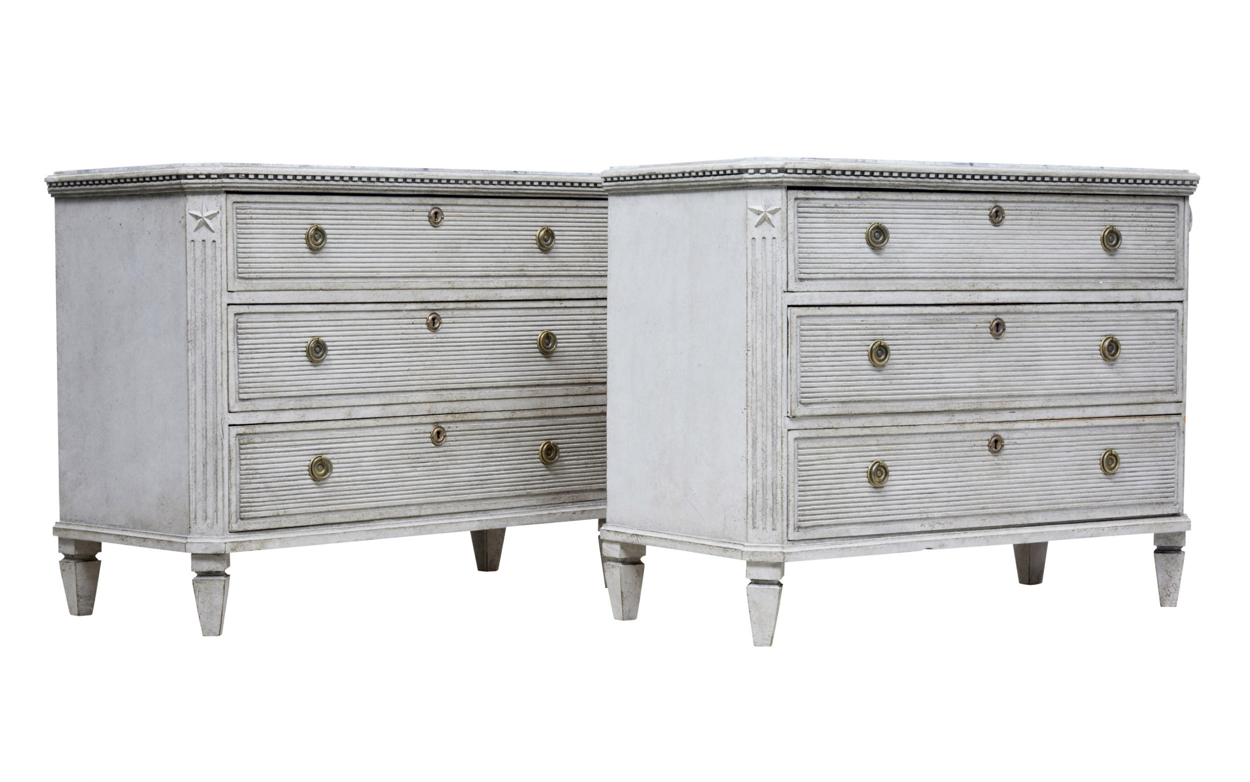 pair of 19th century painted scandinavian chest of drawers