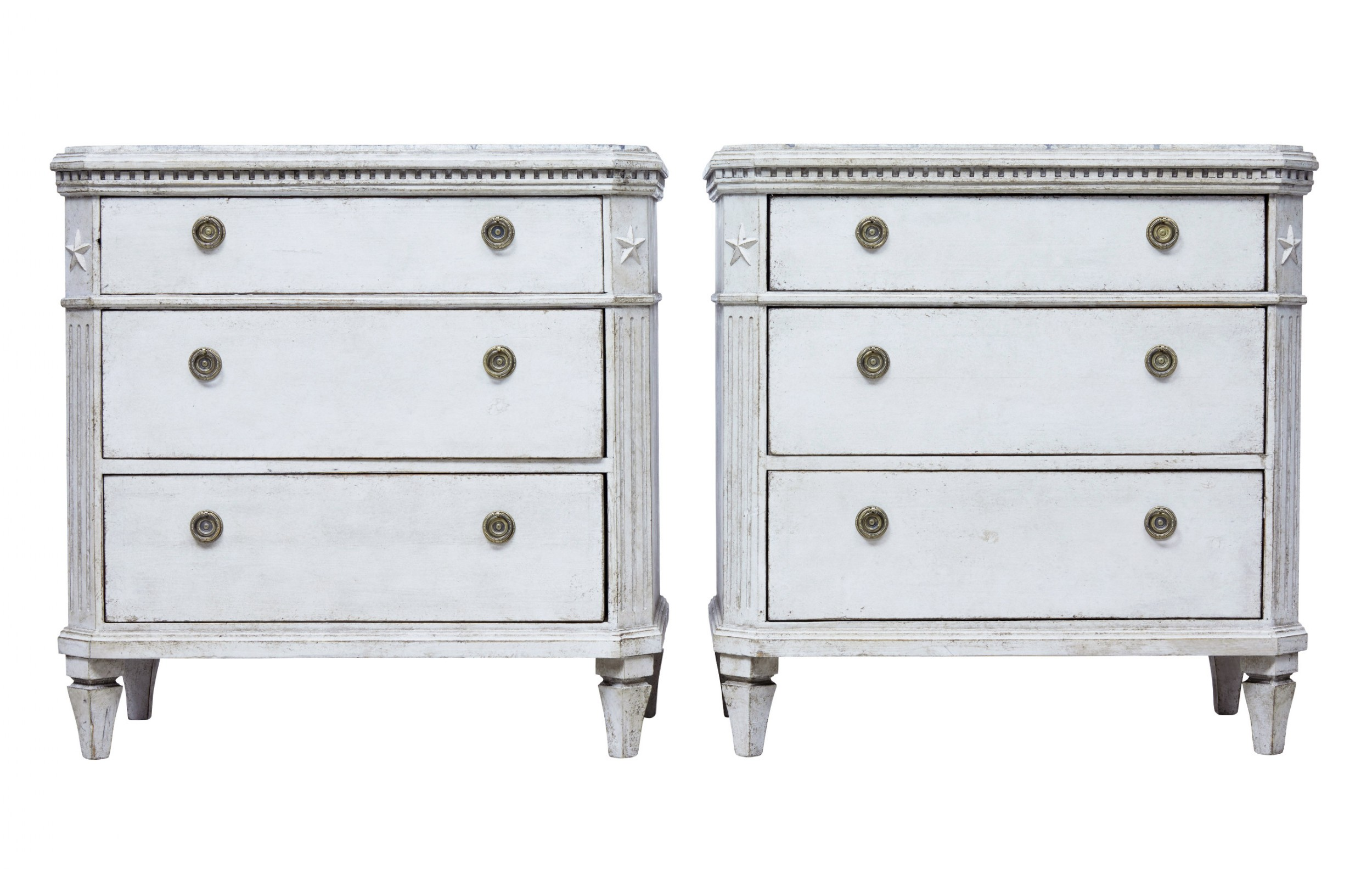 pair of 19th century scandinavian commodes with faux marble tops