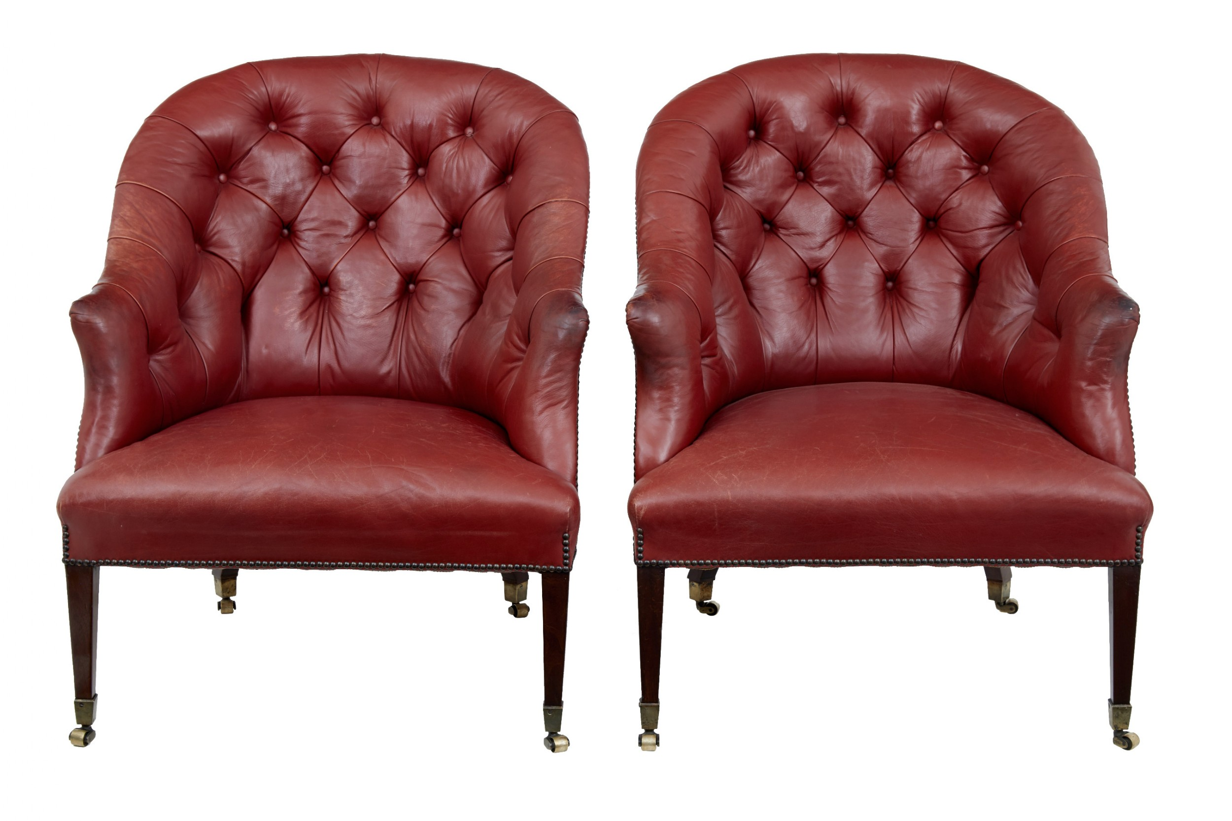 fine quality pair of late 19th century leather lounge chairs