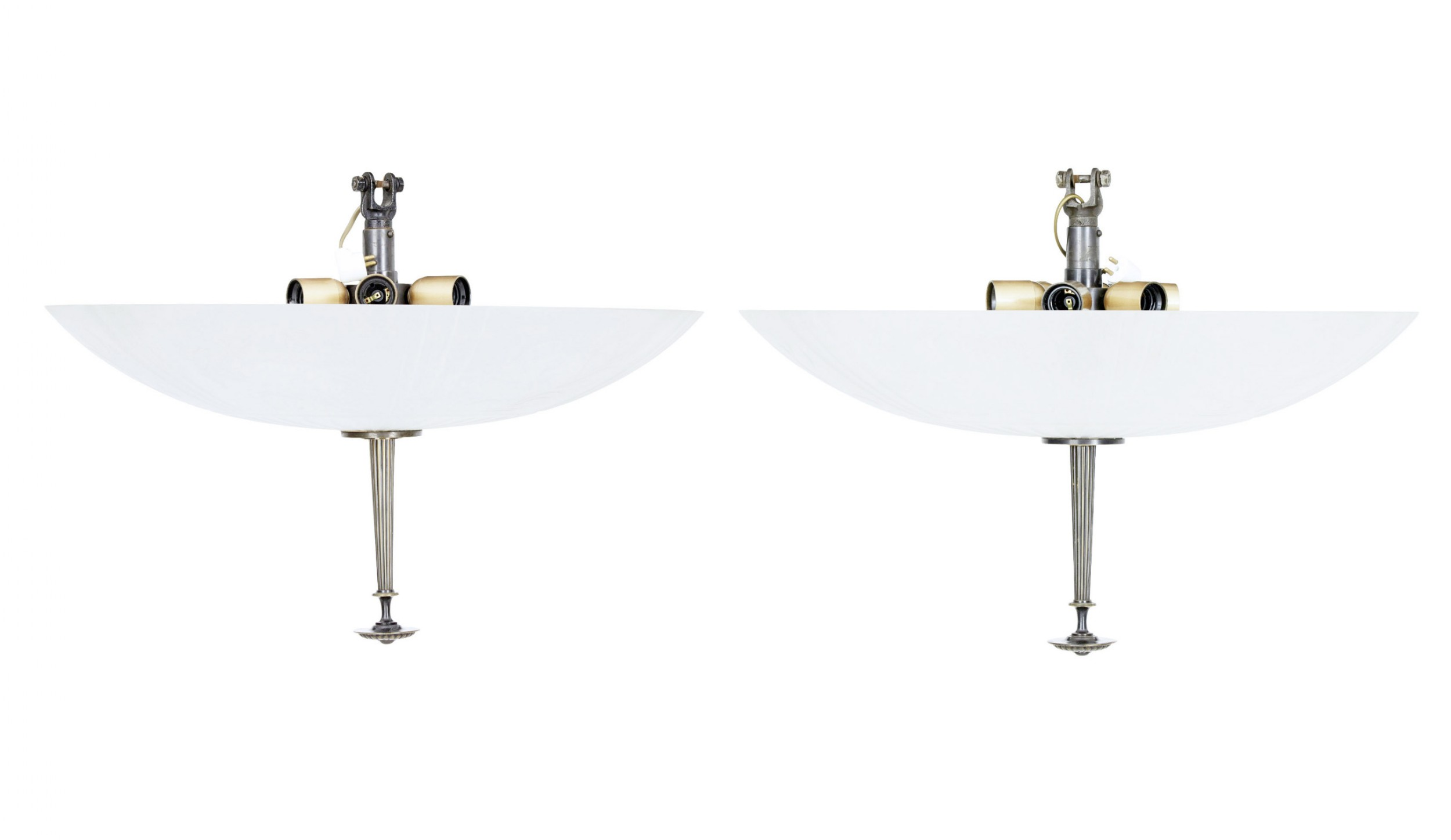 fine pair of art deco pendant lights by orrefors