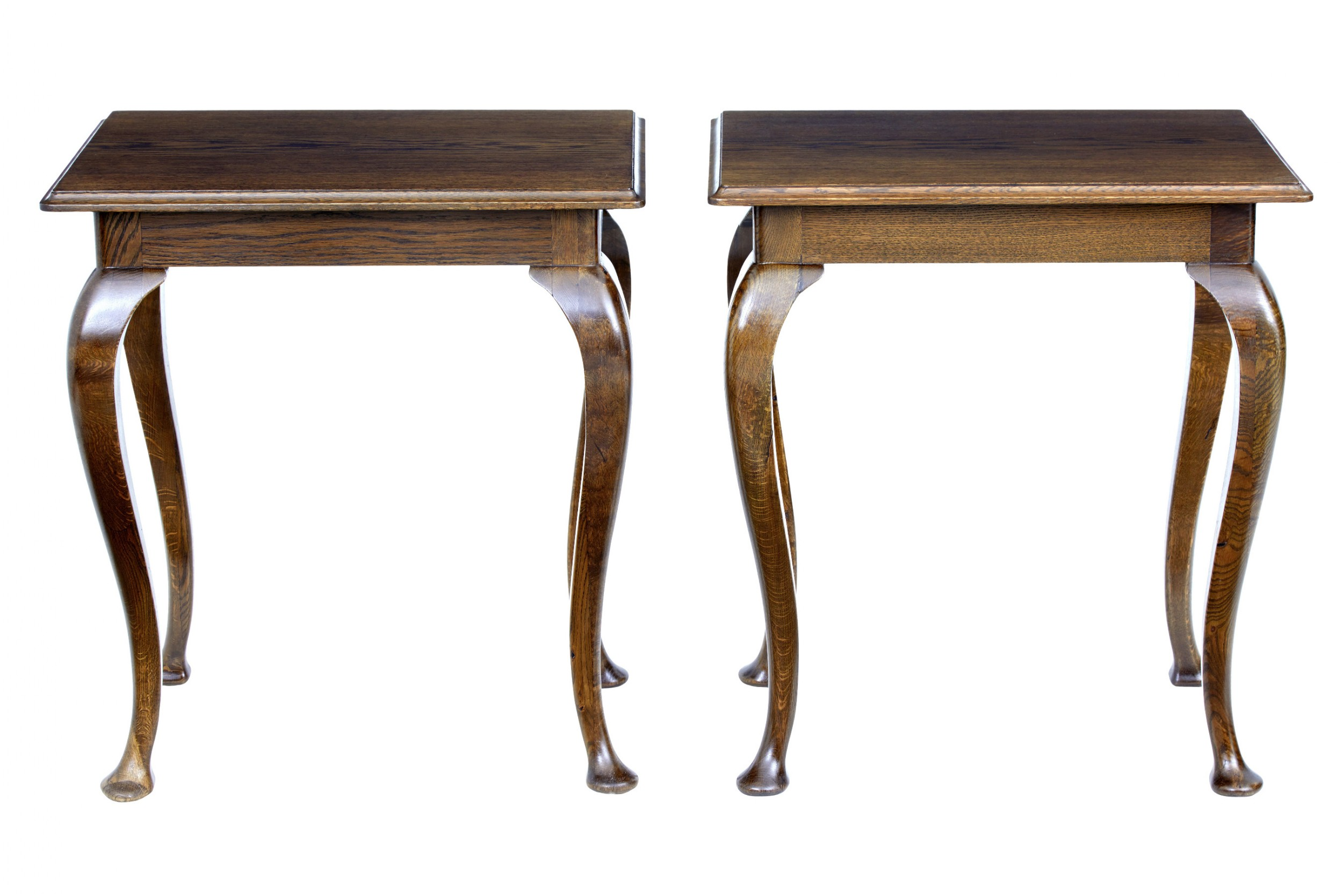 pair of 1920's oak occasional tables