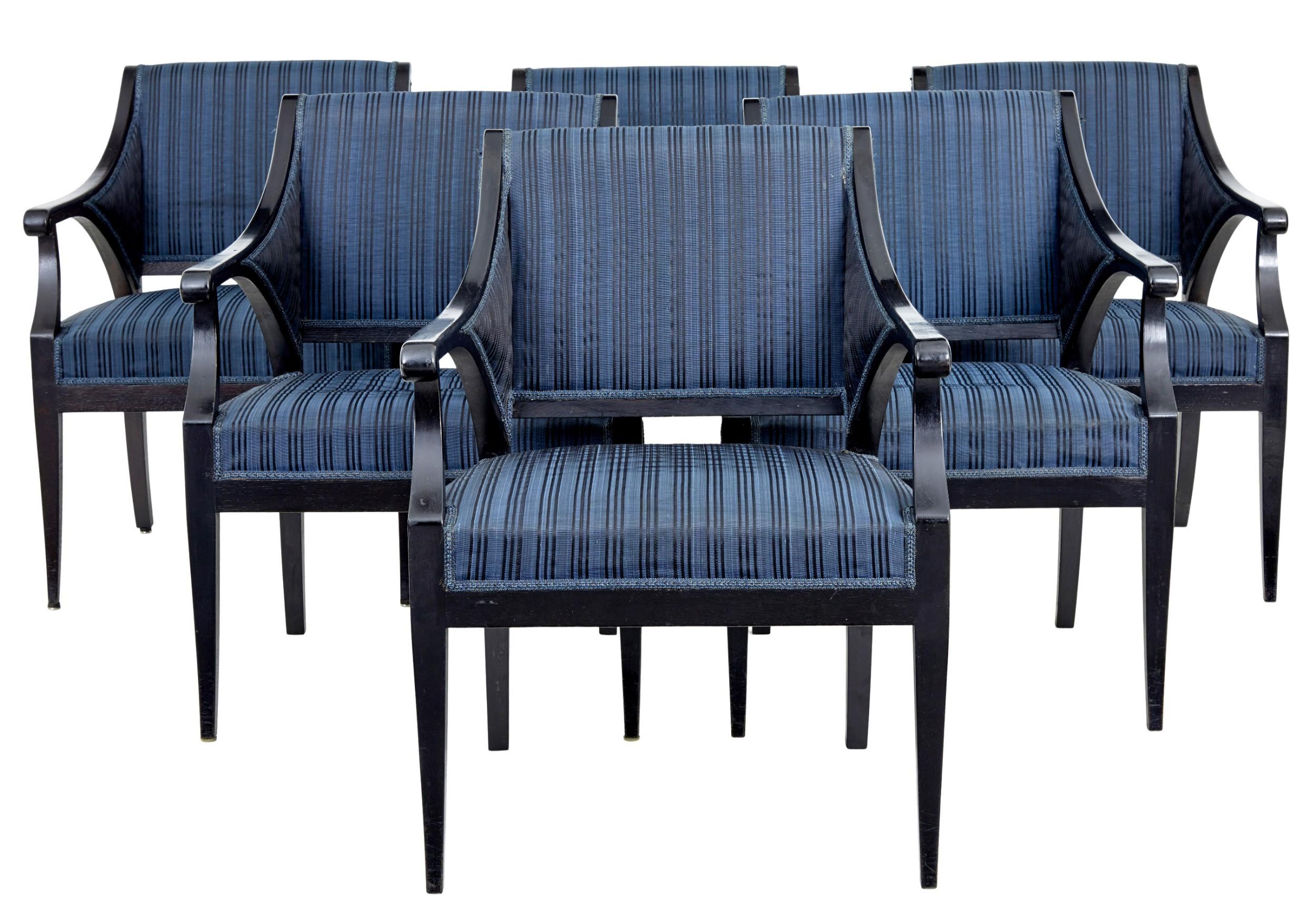set of 6 early 20th century ebonised oak armchairs