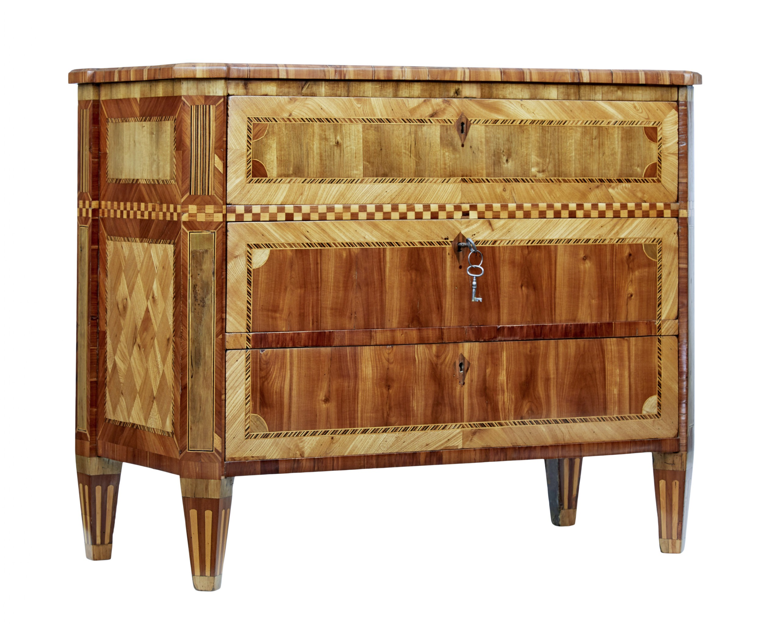 early 19th century gustavian inlaid elm commode
