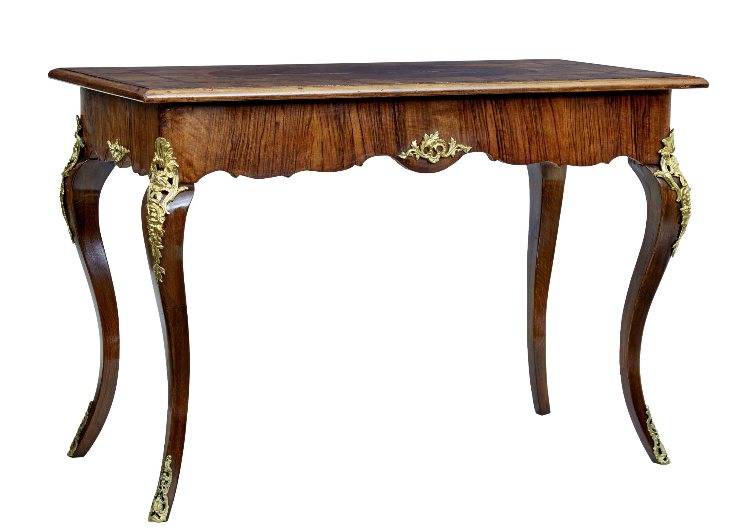 19th century rococo revival walnut and ormolu side table