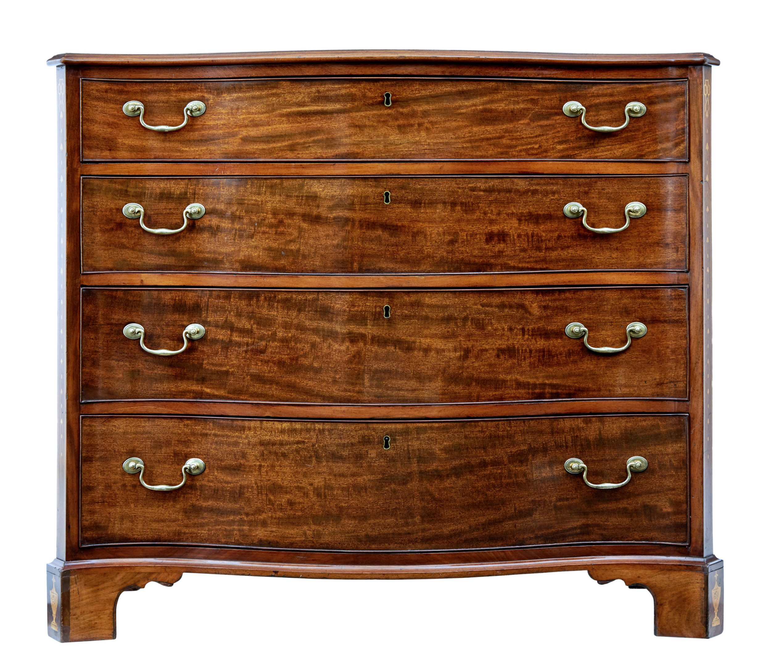 mid 19th century mahogany serpentine chest of drawers