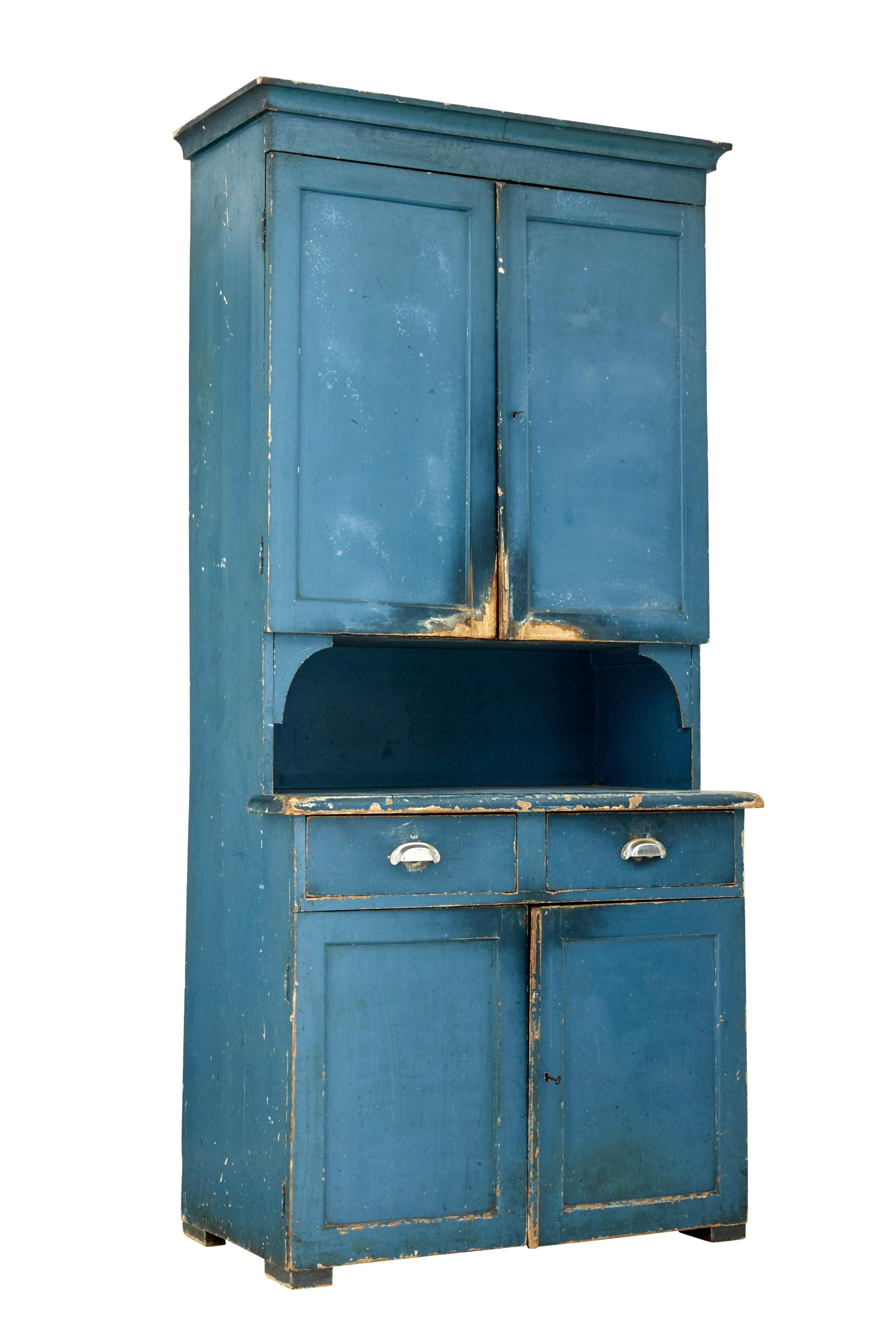 19th century swedish painted pine kitchen cupboard