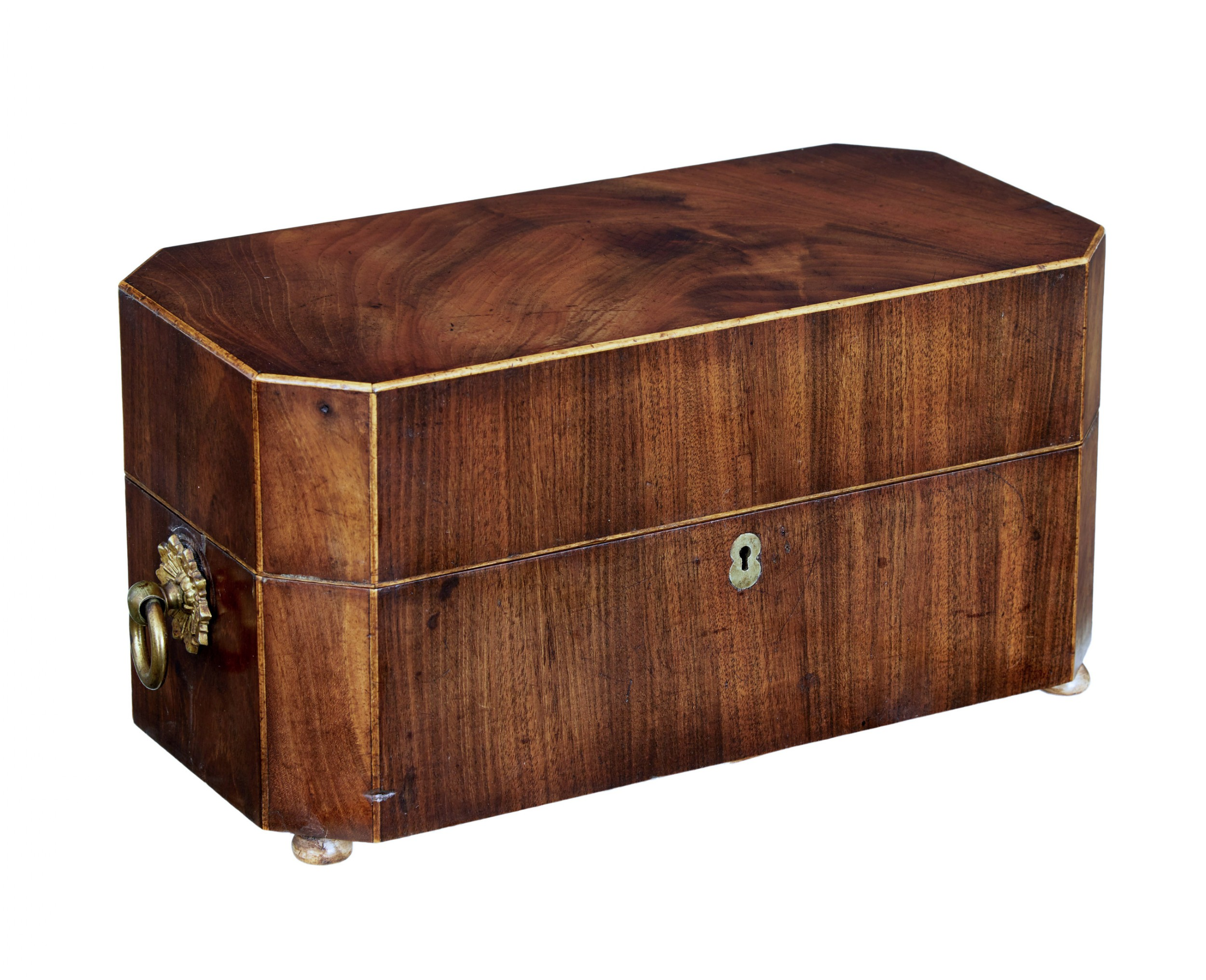 early 19th century regency mahogany tea caddy