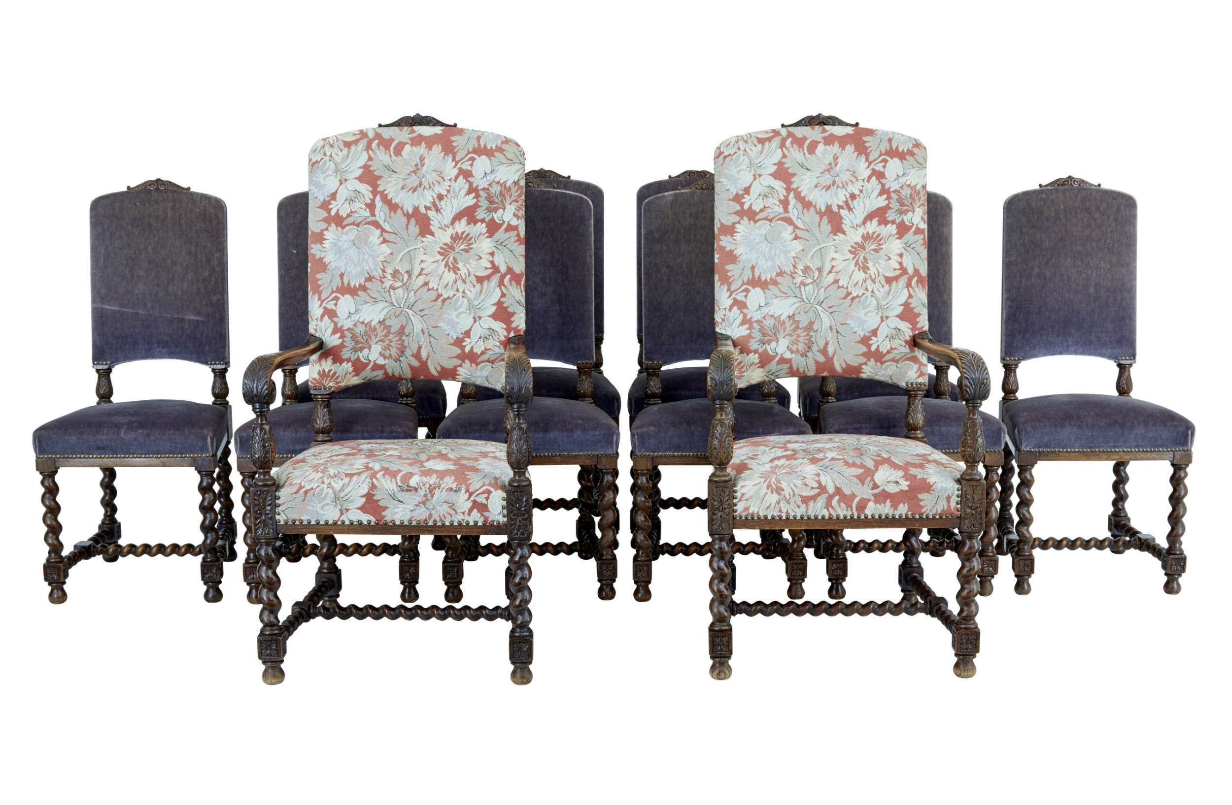 set of 12 late 19th century baroque revival carved oak dining chairs