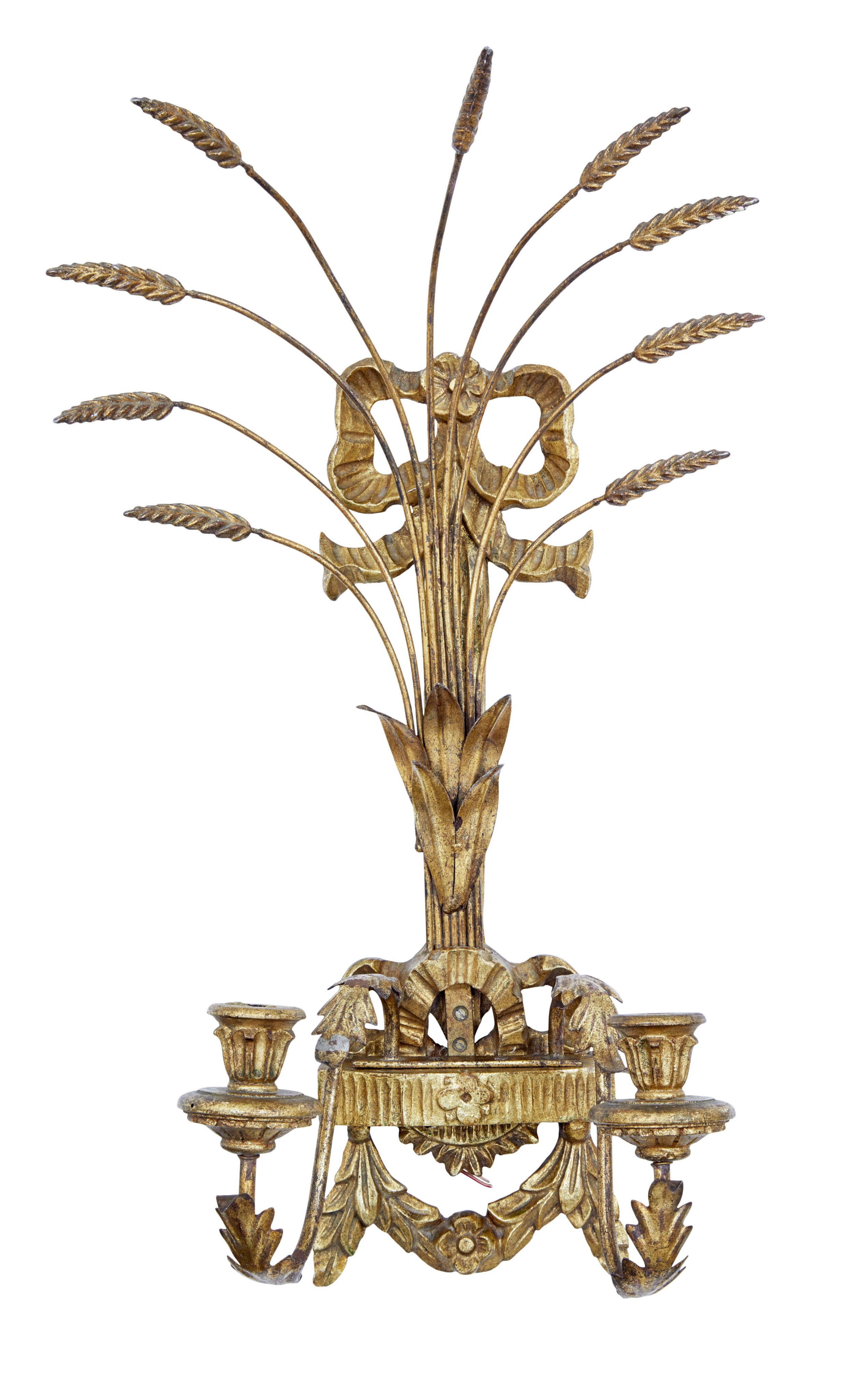 early 20th century carved wood and gilt metal sconce