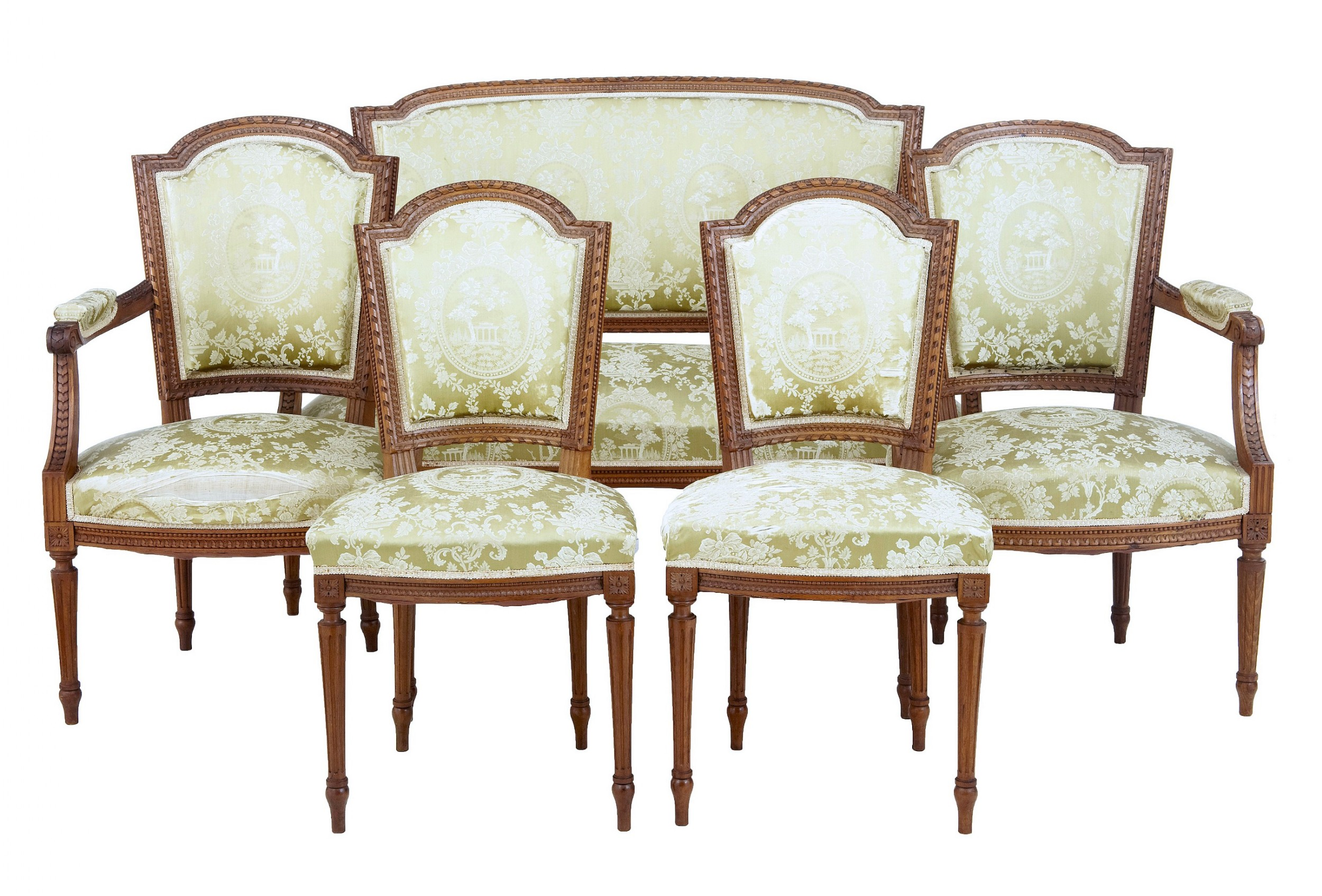 5 piece 19th century carved walnut french salon suite