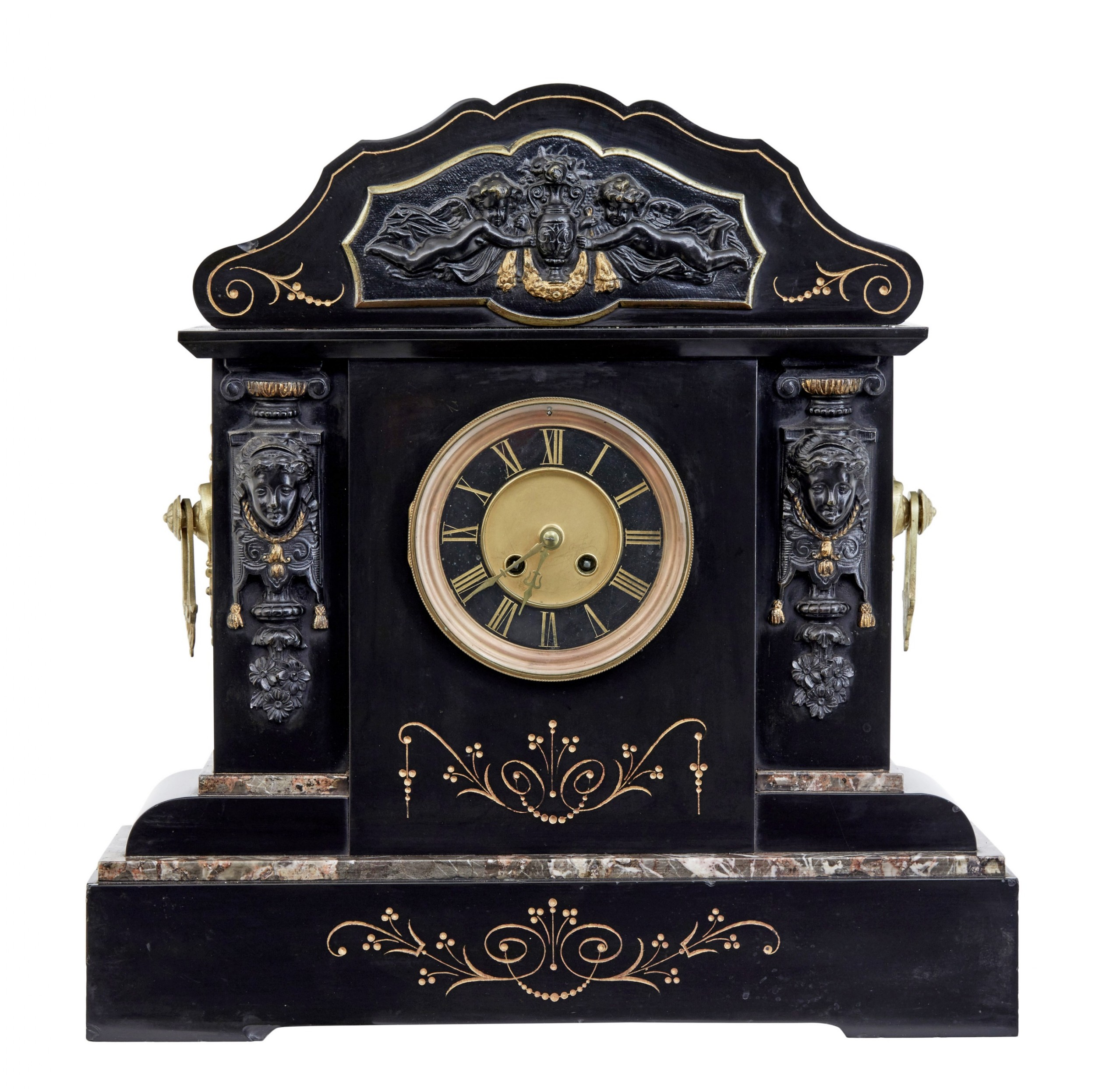 high victorian inlaid black marble mantel clock