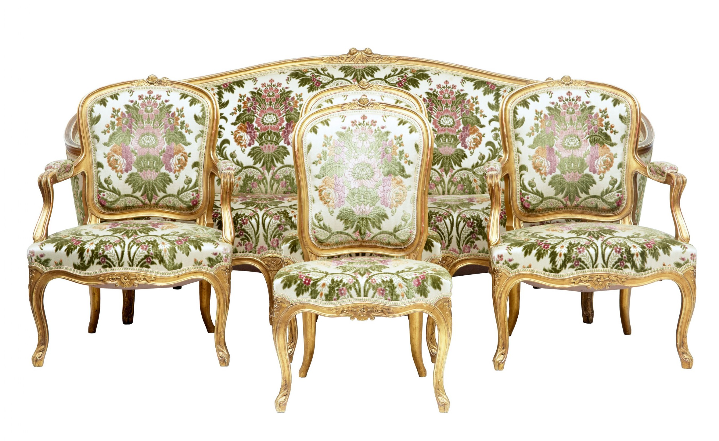 fine 19th century fivepiece gilt salon living room suite