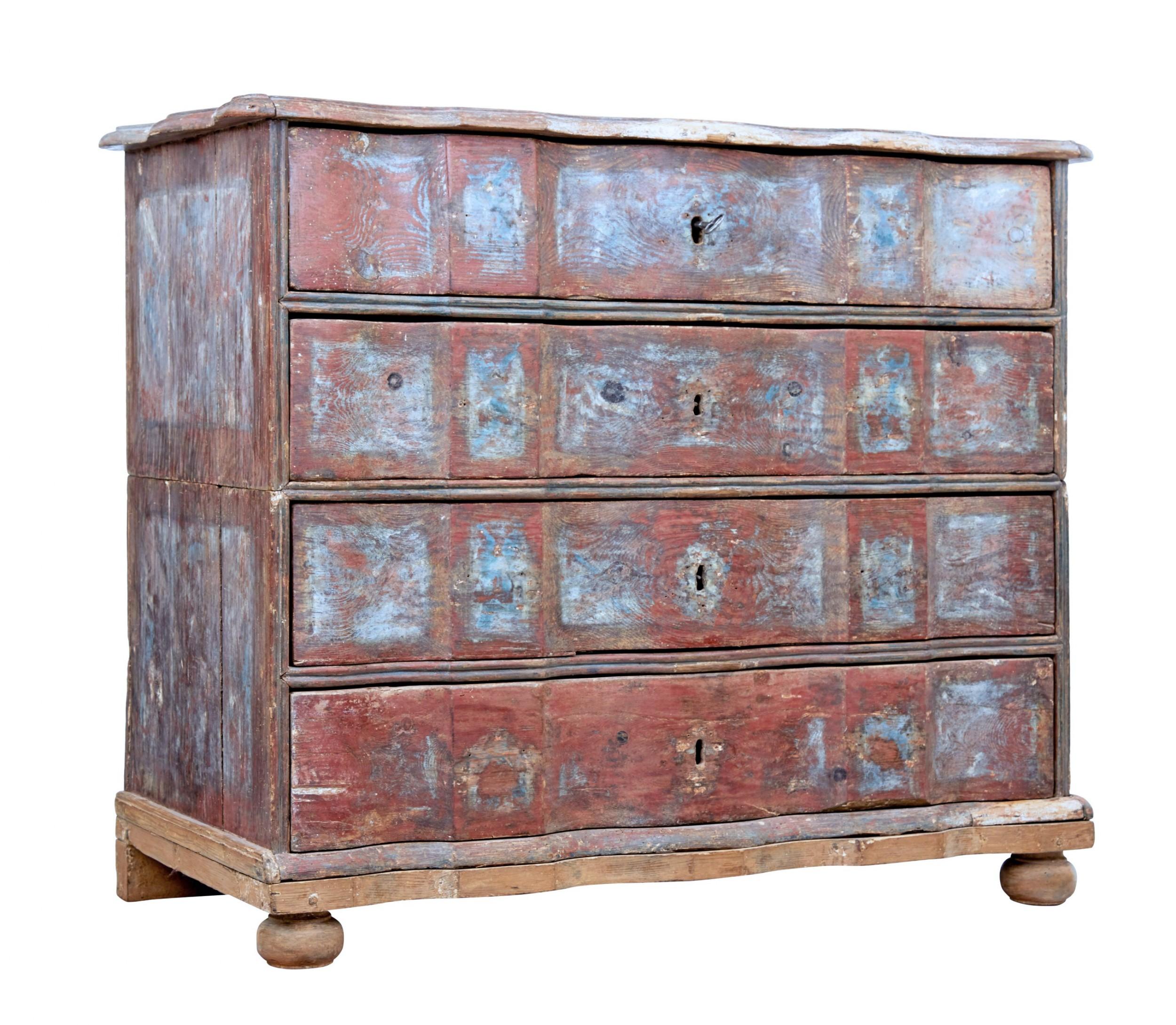 mid 18th century danish pine painted chest of drawers