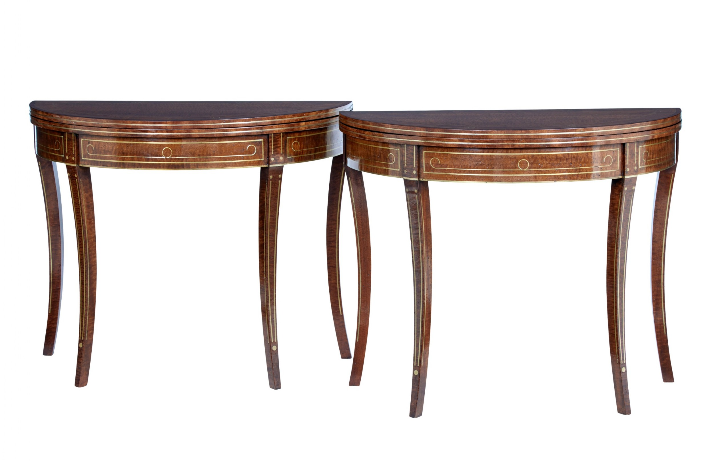 pair of 19th century william iv mahogany and brass inlaid tea tables