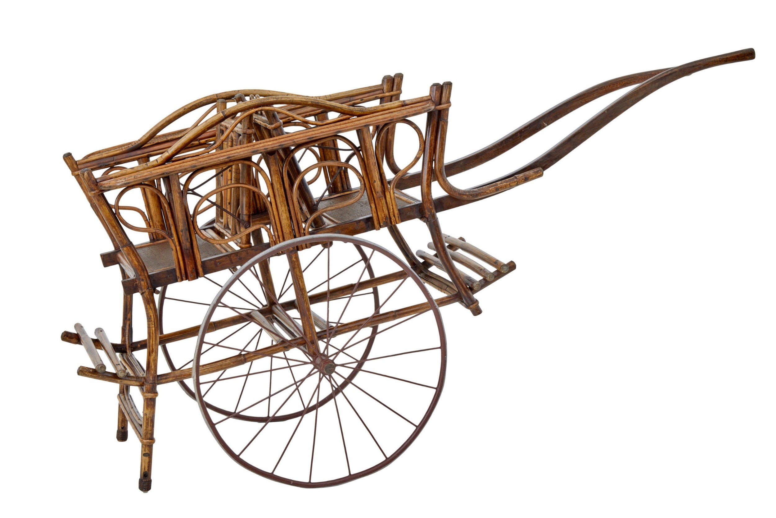 early 20th century oriental bamboo 2 seat child carriage