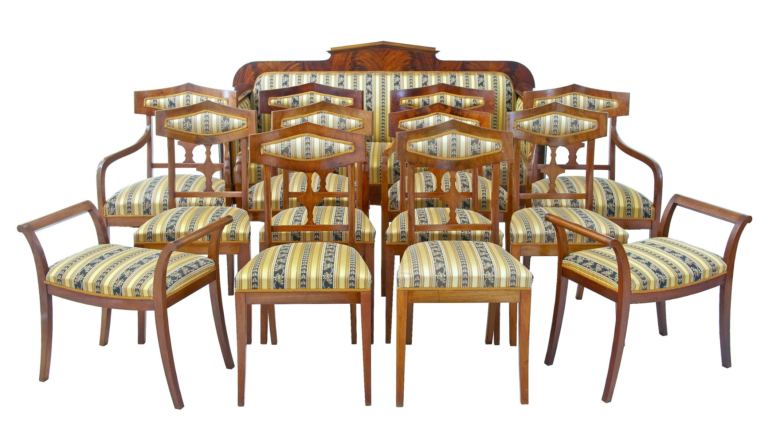 early 20th century 13 piece mahogany salon suite