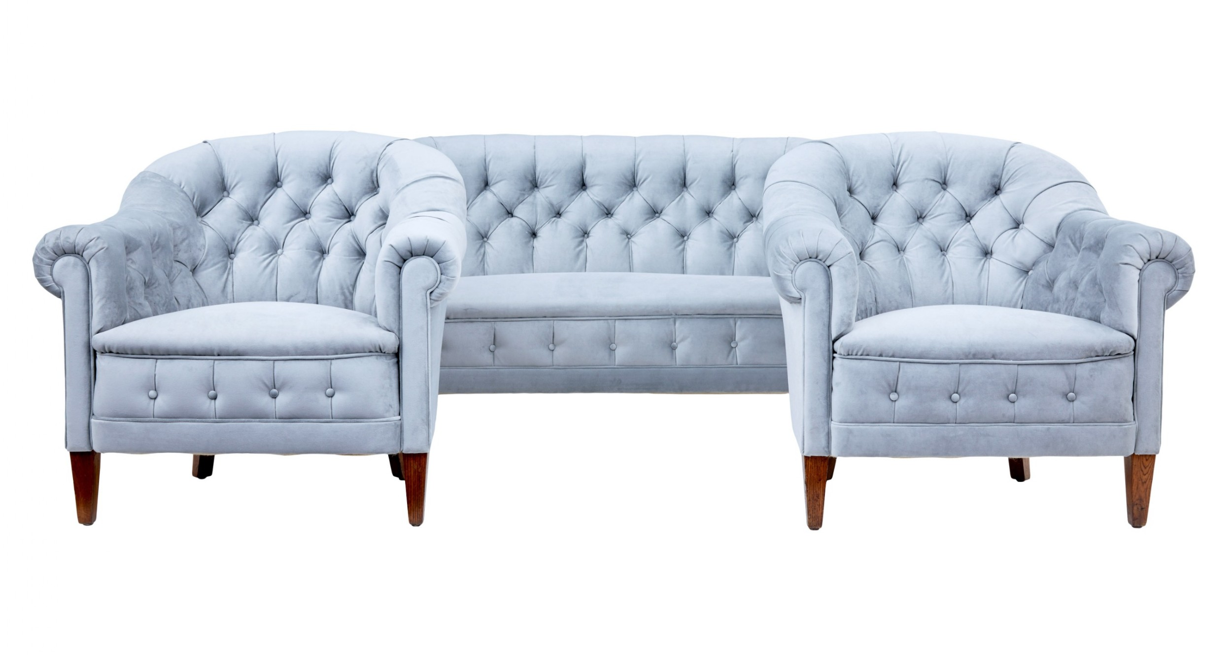 early 20th century buttonback 3 piece suite sofa and 2 chairs
